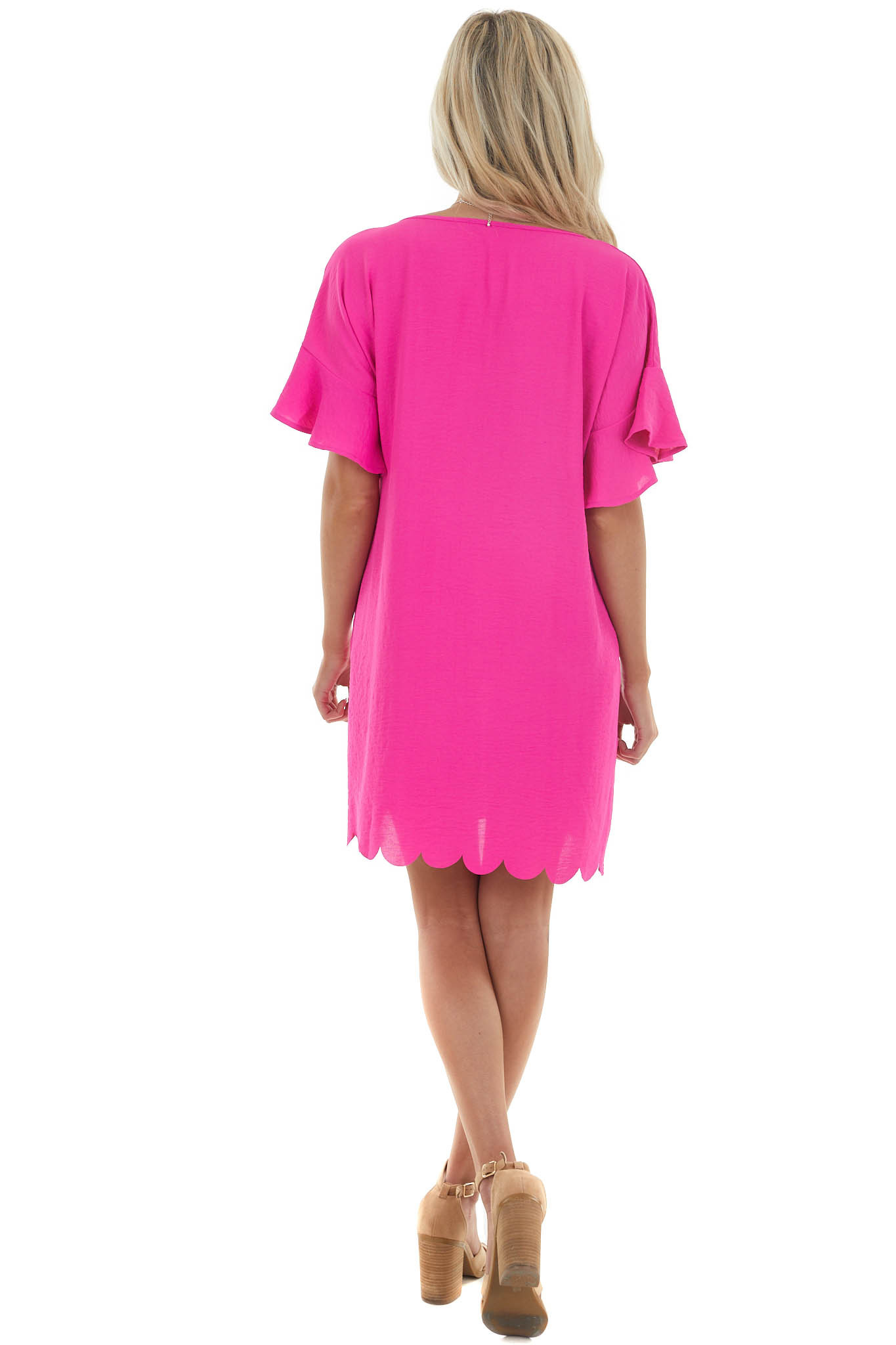 Raspberry Short Dress with Scalloped Hem and Pockets