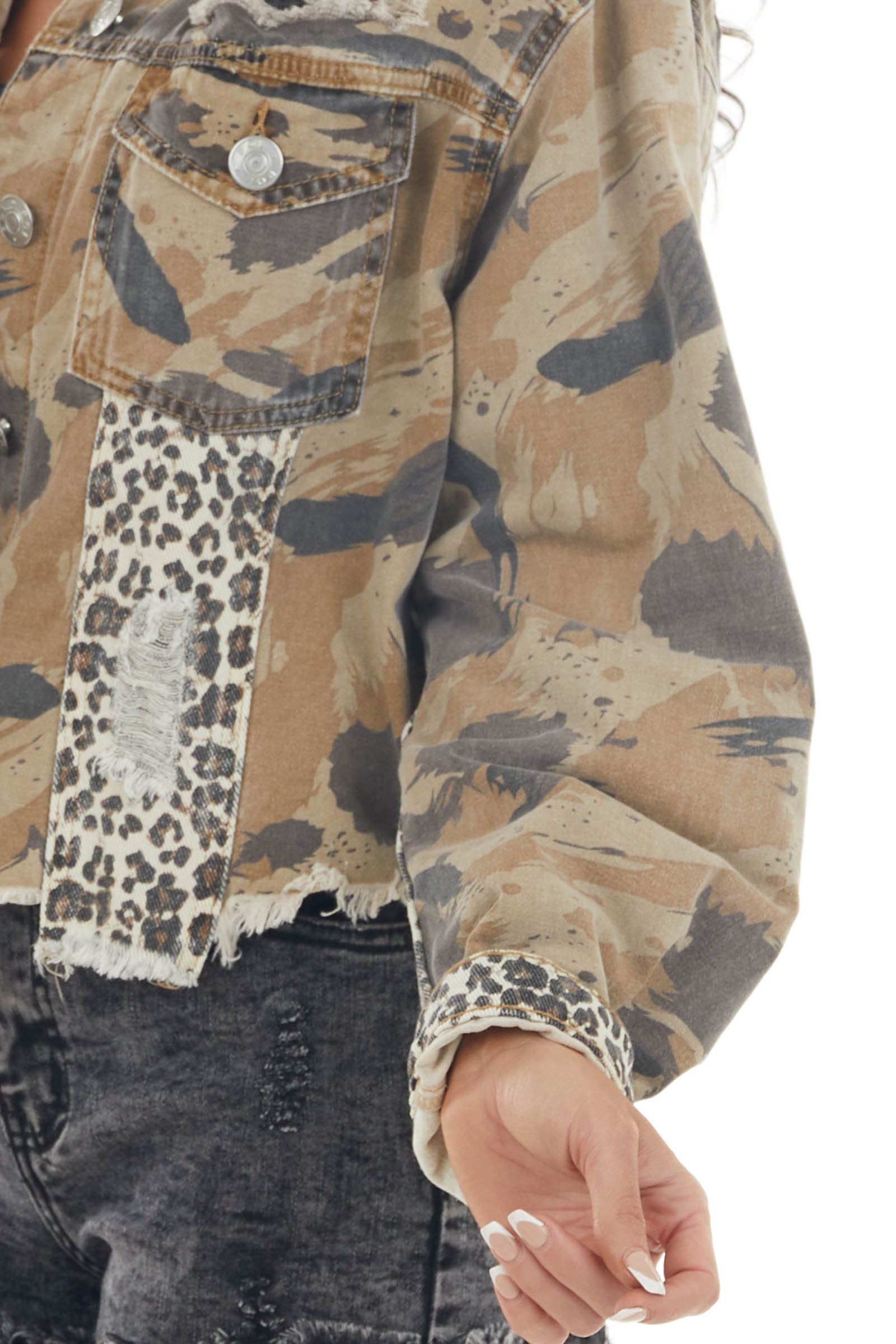 Brown Camo and Leopard Print Button Up Jacket