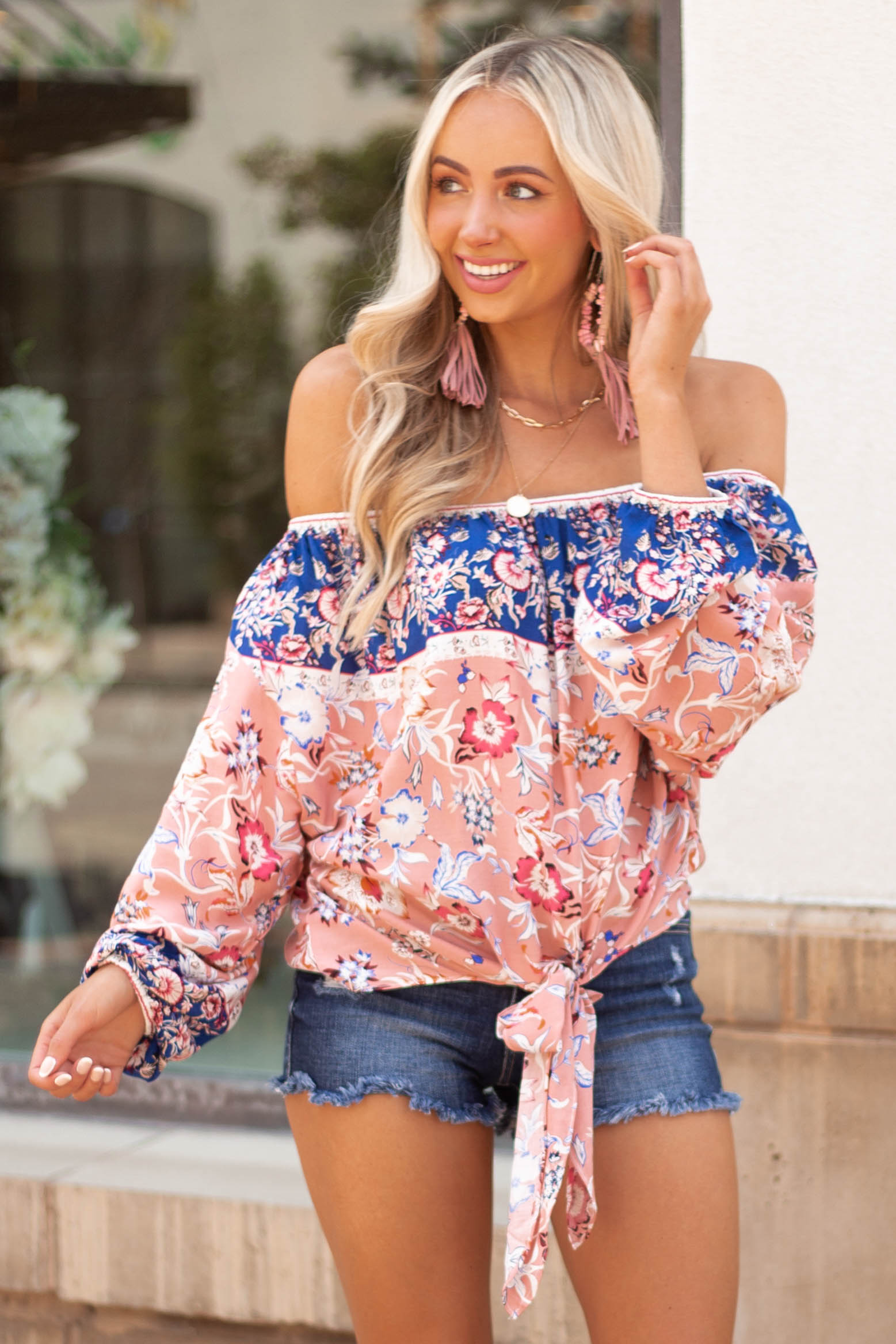 Coral Floral Print Long Bubble Sleeve Off Shoulder Woven Top