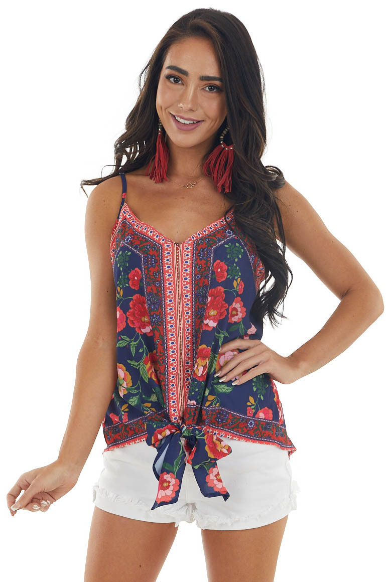 Navy Floral Print Sleeveless Blouse with Front Tie