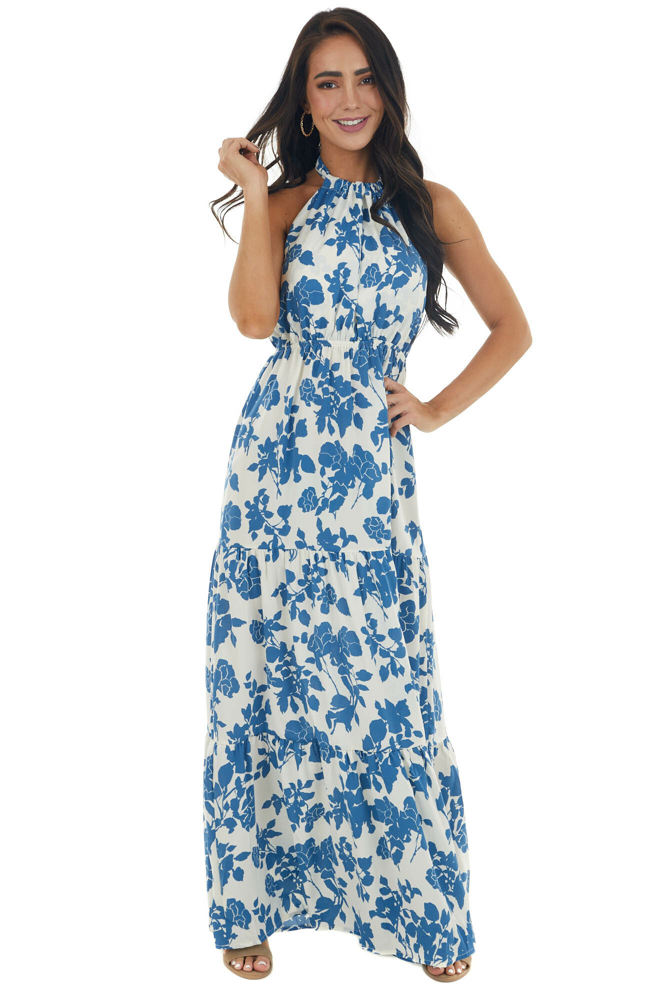 Steel Blue and Ivory Floral Print Maxi Dress