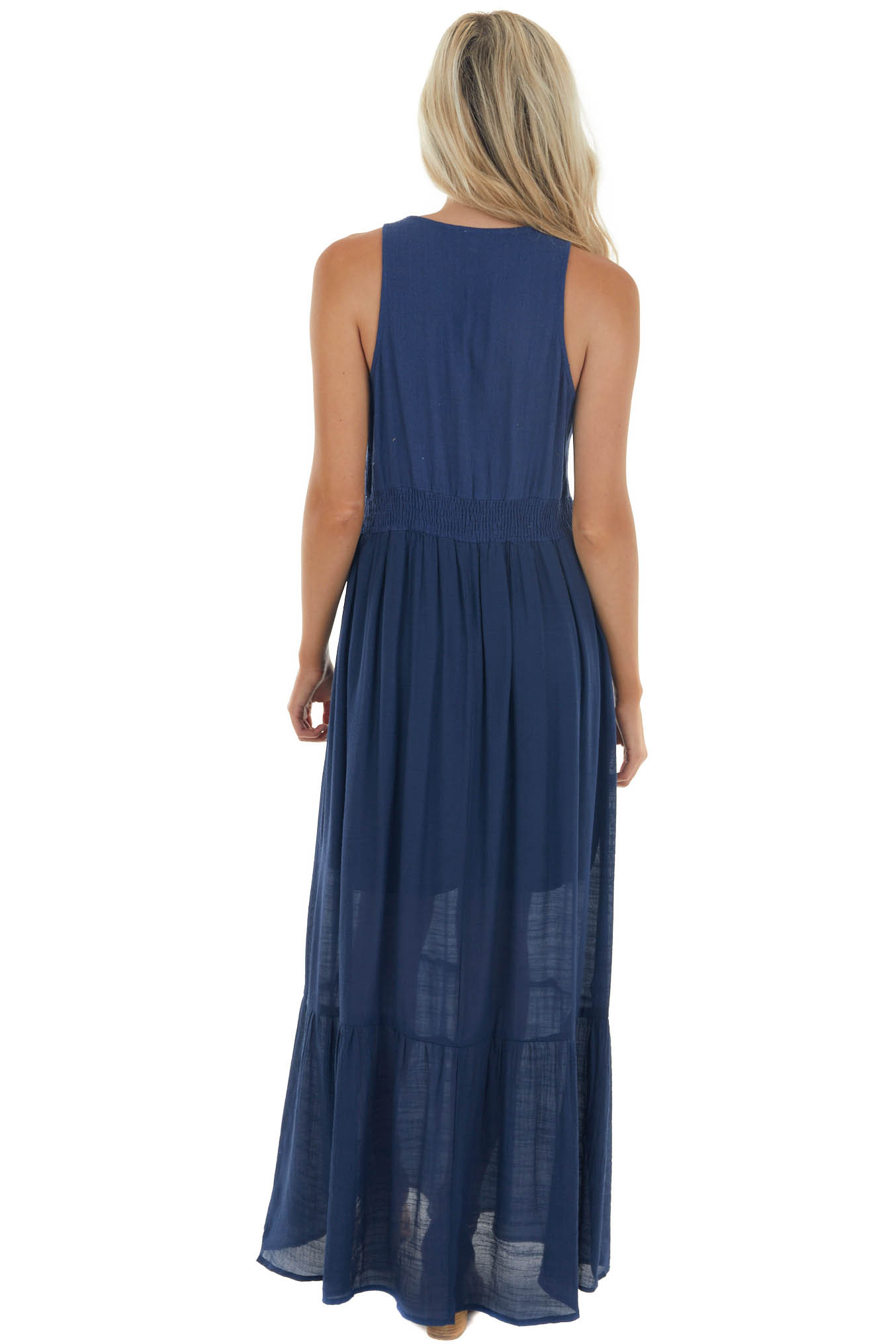 Navy Floral Embroidered Sleeveless Maxi Dress