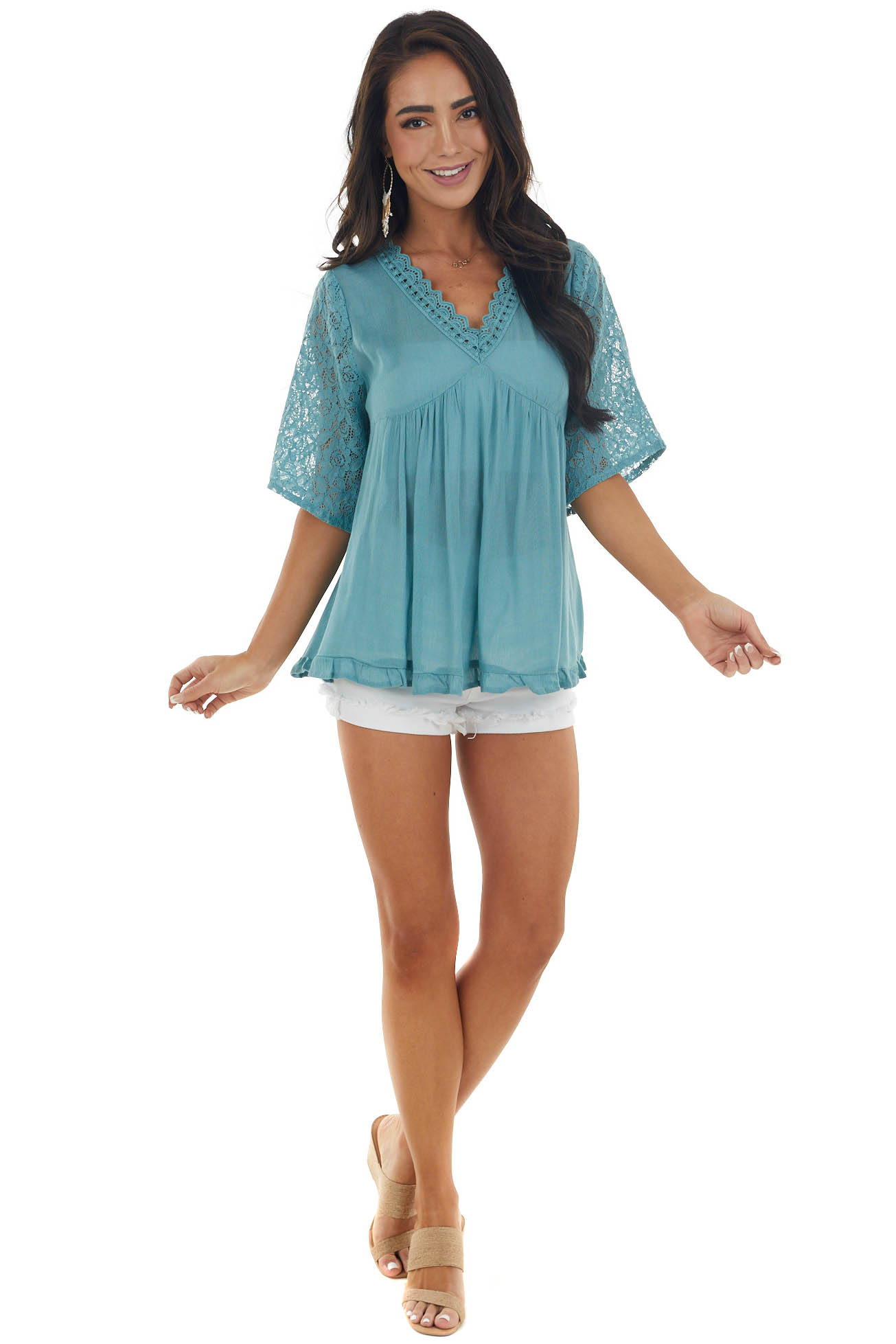 Teal V Neck Blouse with Lace Detail