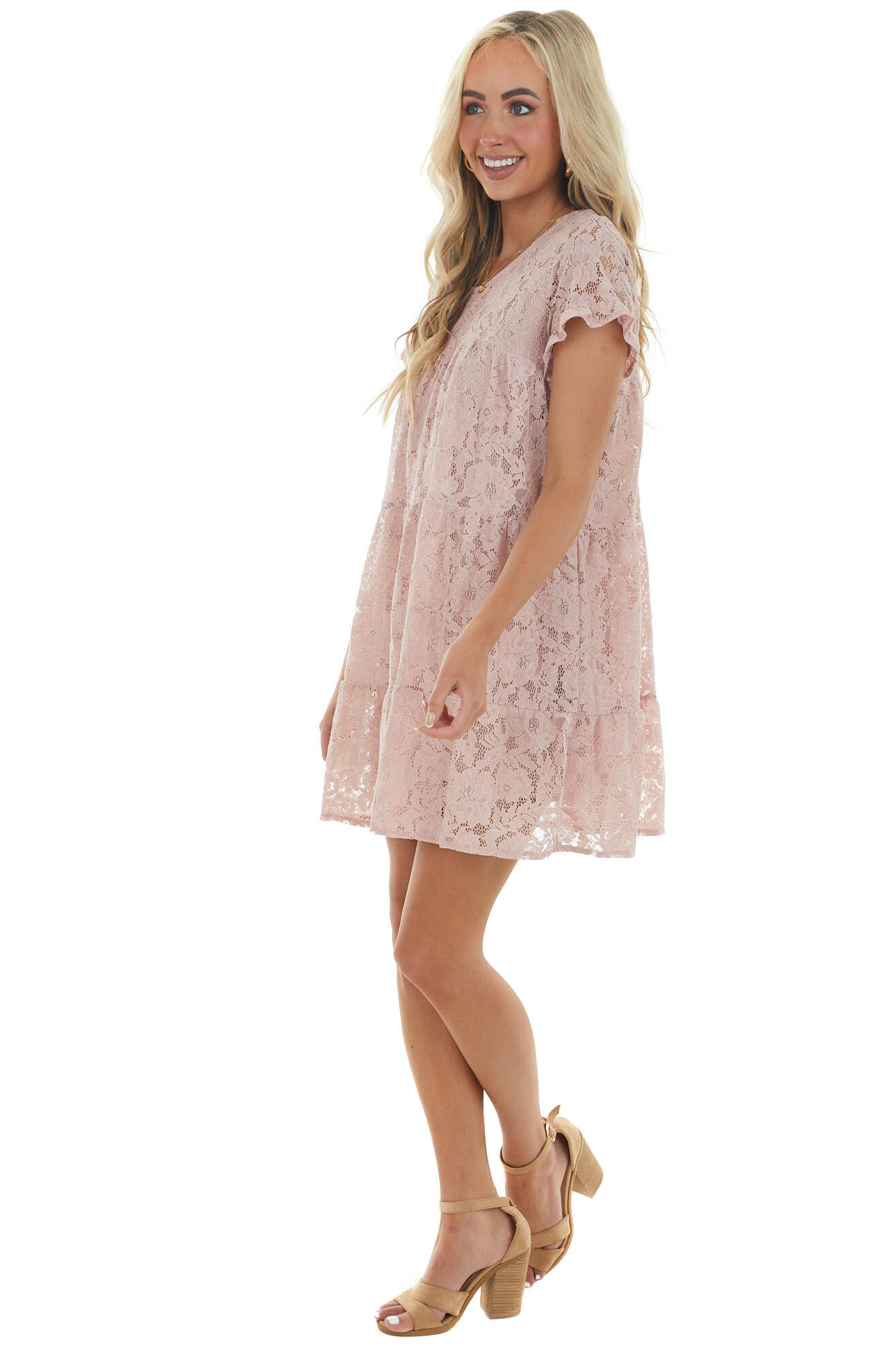 Dusty Blush Tiered Floral Lace Woven Dress