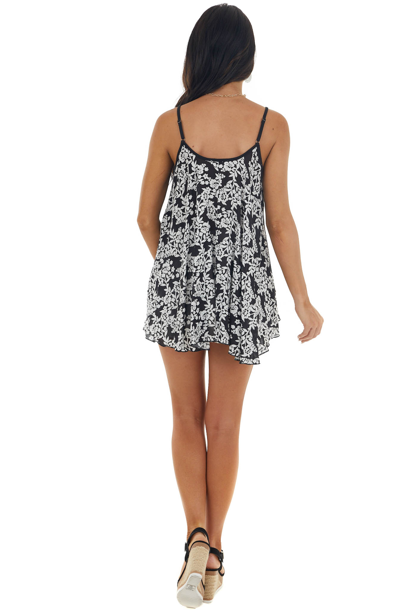Black and Off White Floral Print Tank Top