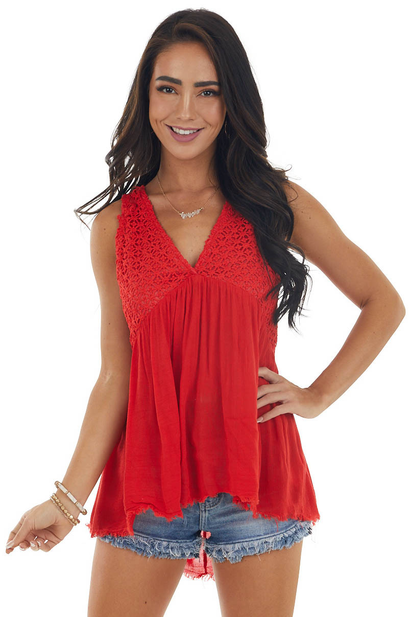 Lipstick Red Babydoll Tank with Crochet Lace