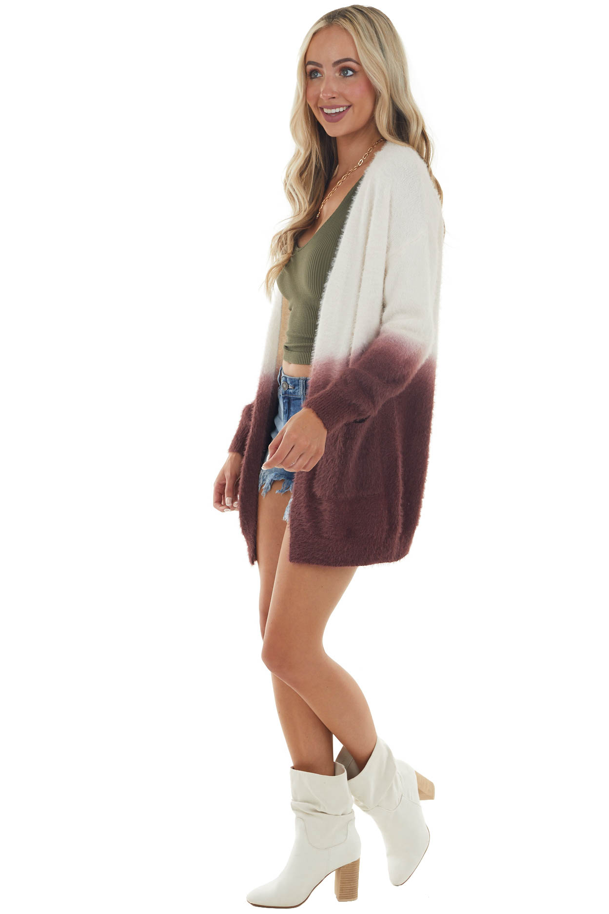 Wine and Ivory Ombre Fuzzy Knit Cardigan with Pockets