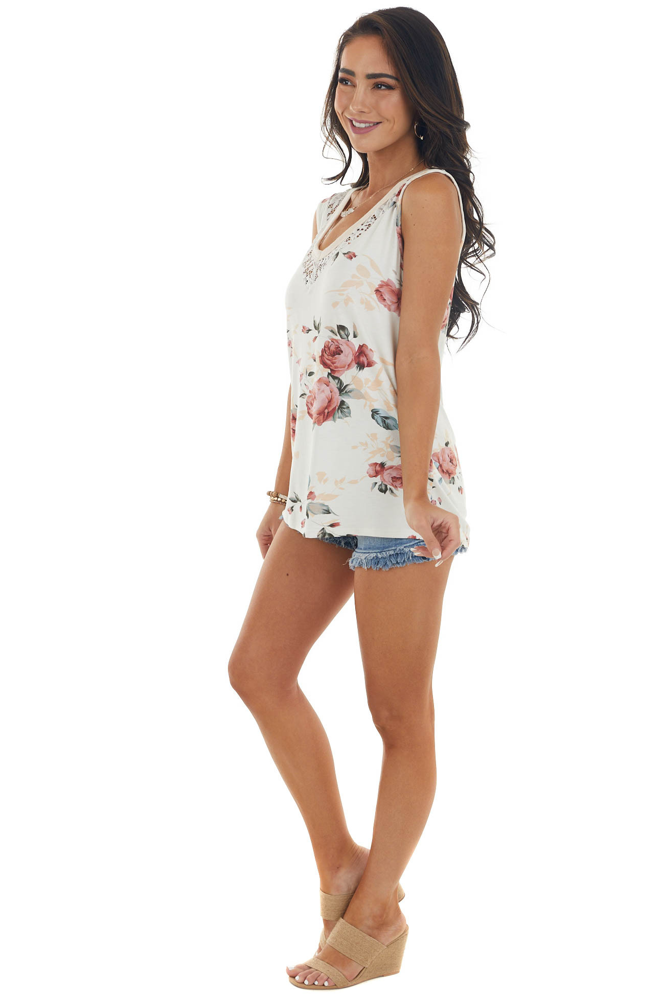 Cream and Thulian Floral Print Lace Tank Top