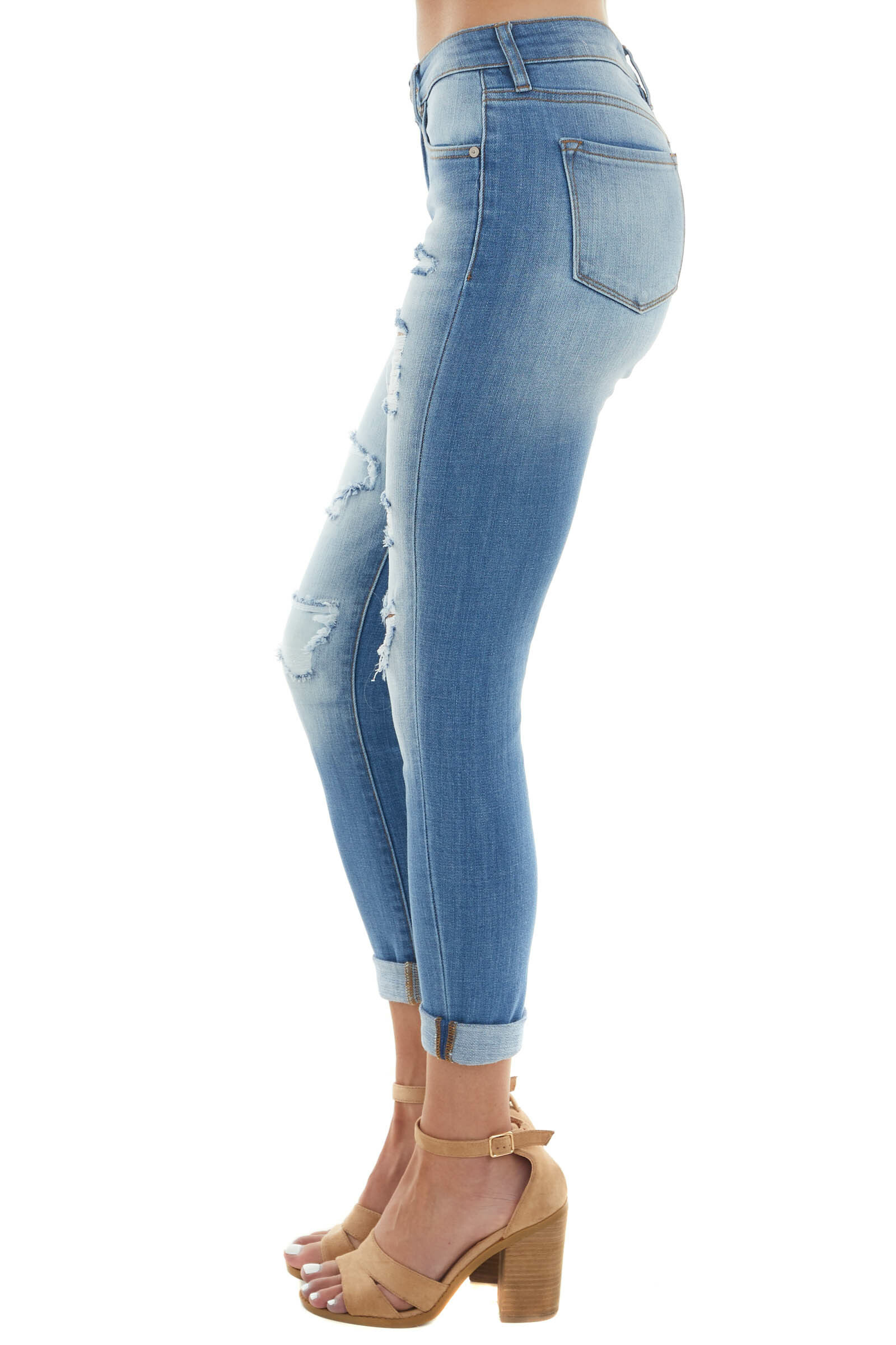 Medium Wash Mid Rise Heavily Distressed Jeans