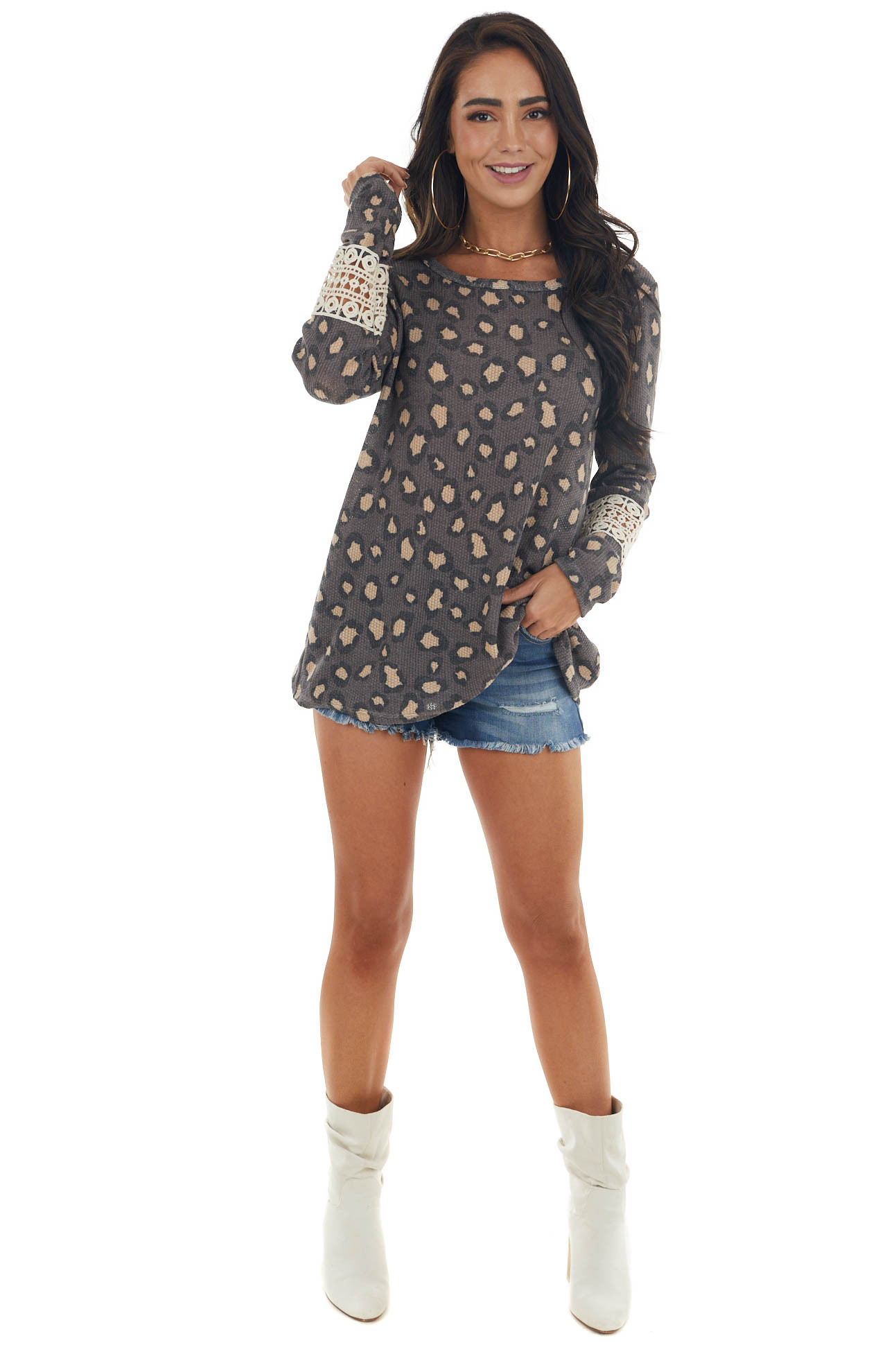 Coffee Leopard Print Top with Crochet Lace Detail