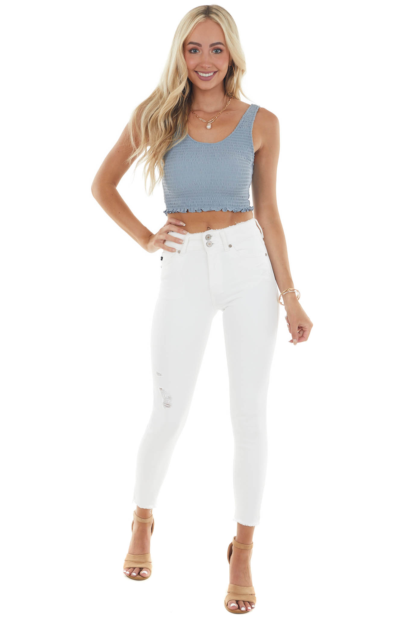 White High Rise Skinny Jeans with Fray Detail