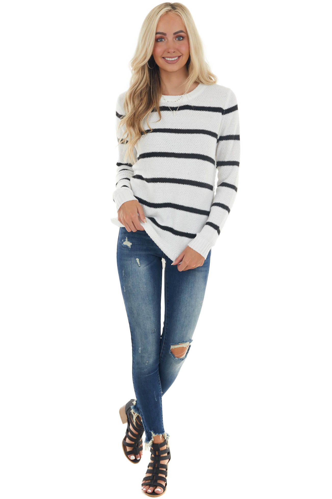 Off White Striped Crew Neck Loose Knit Sweater
