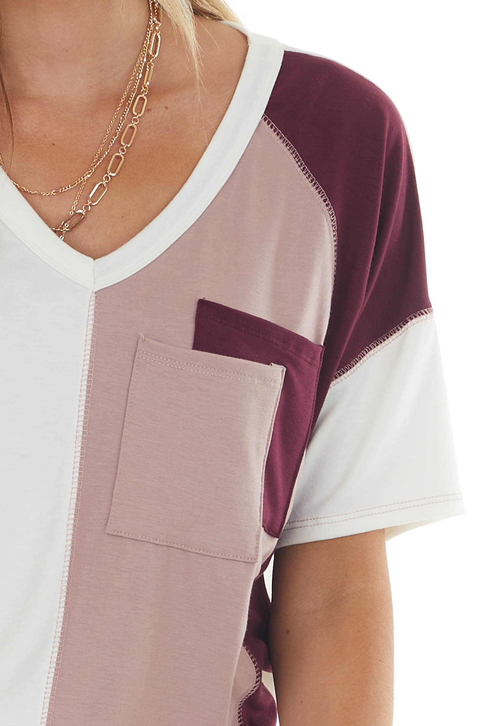 Mauve and Wine Colorblock Double Pocket Tee