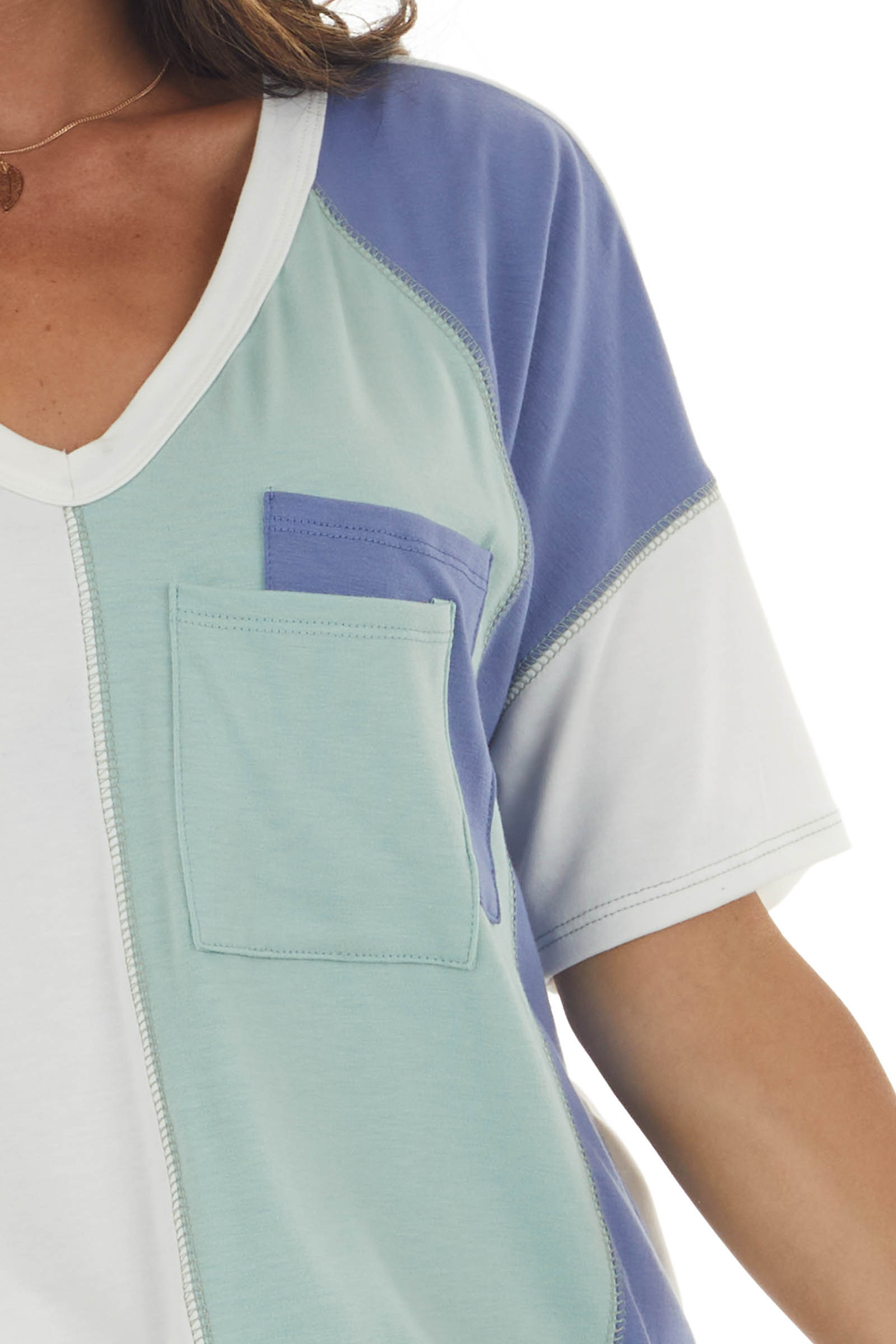 Sage and Blue Colorblock Double Pocket Tee