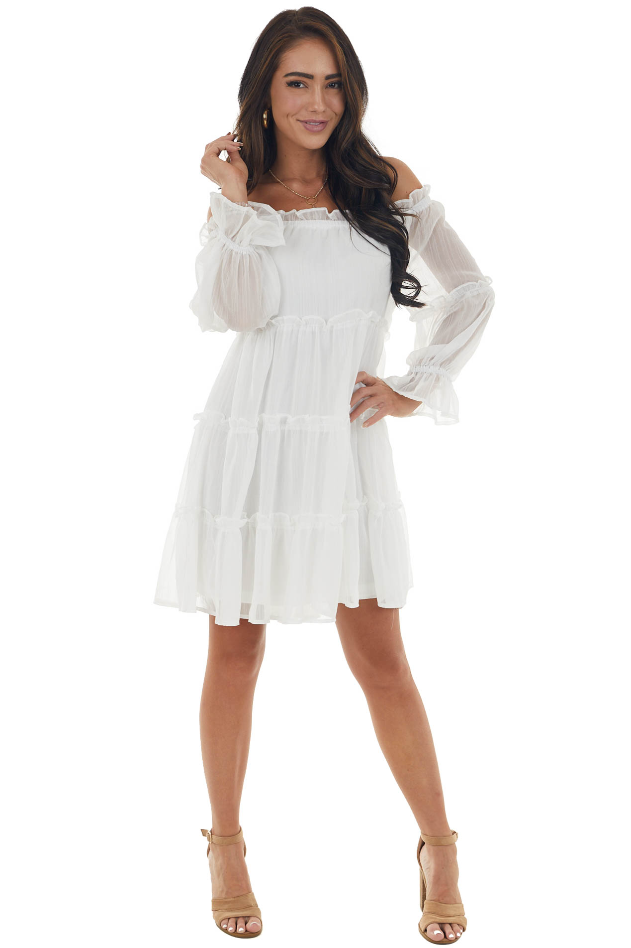 Off White Off the Shoulder Tiered Woven Dress