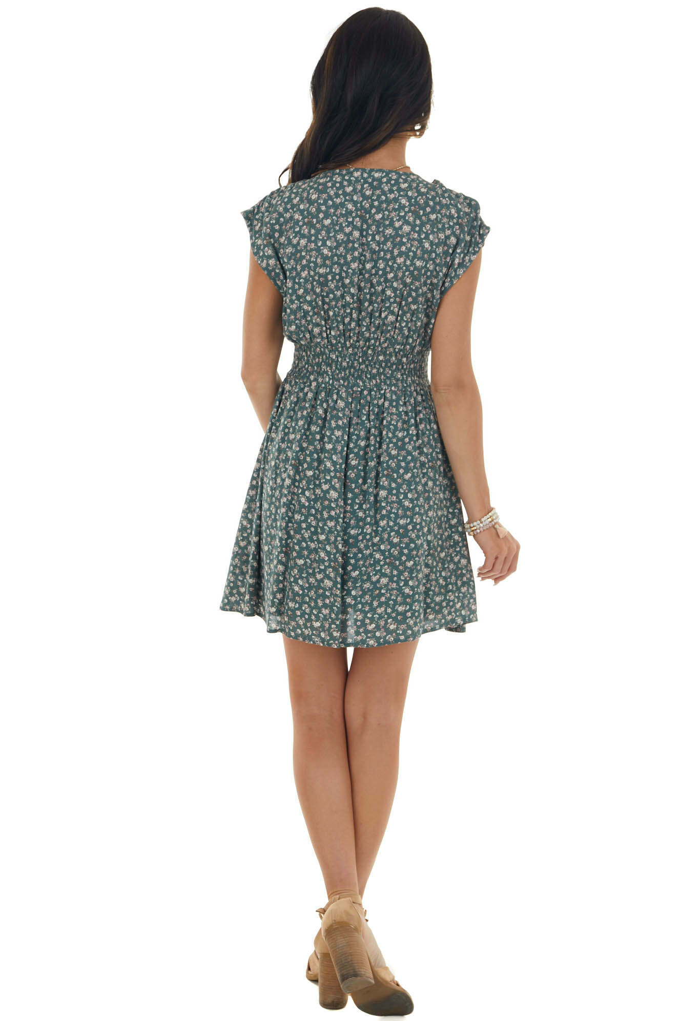 Pine Green Ditsy Floral Button Up Mini Dress