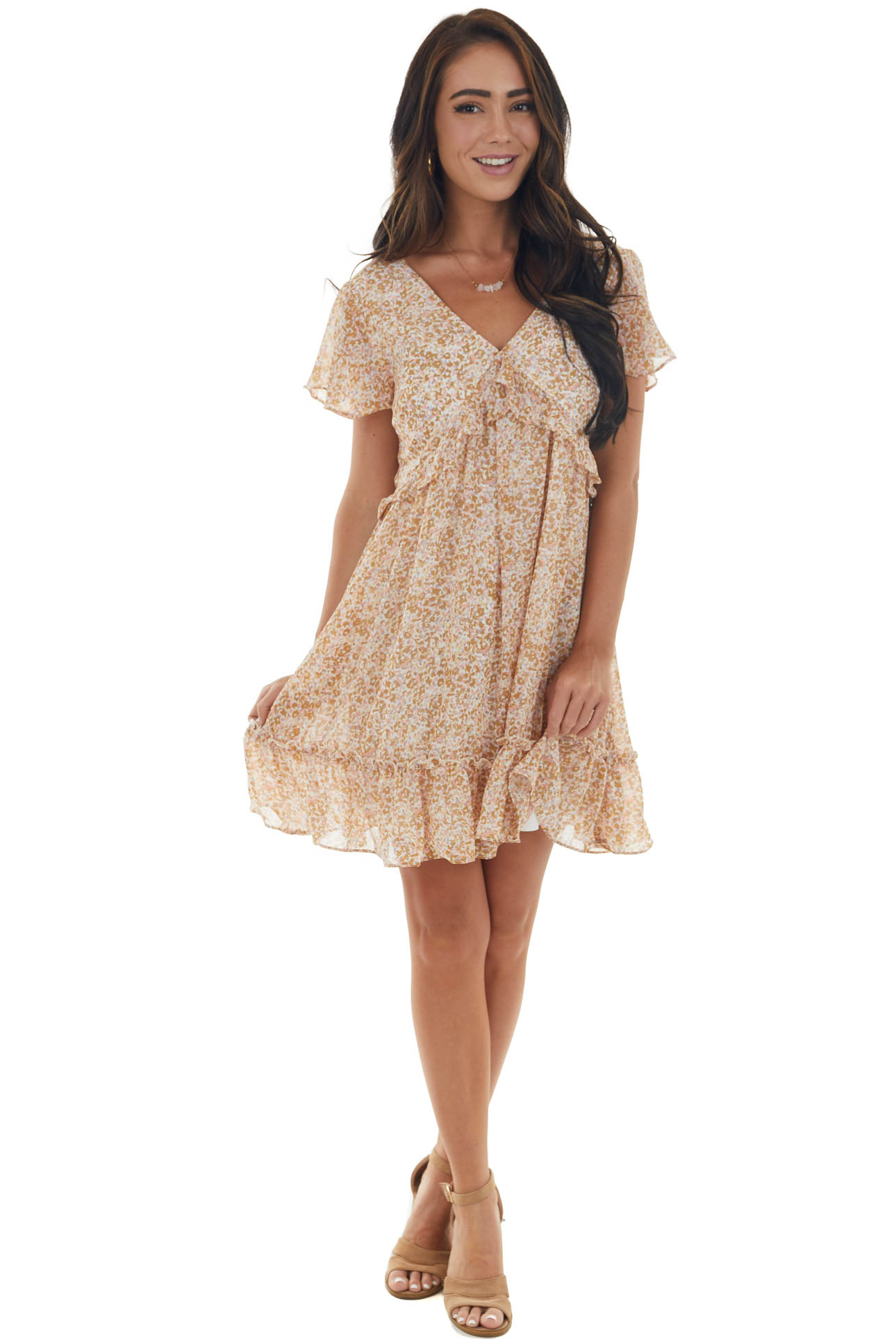 Copper Printed Dress with Flutter Sleeves