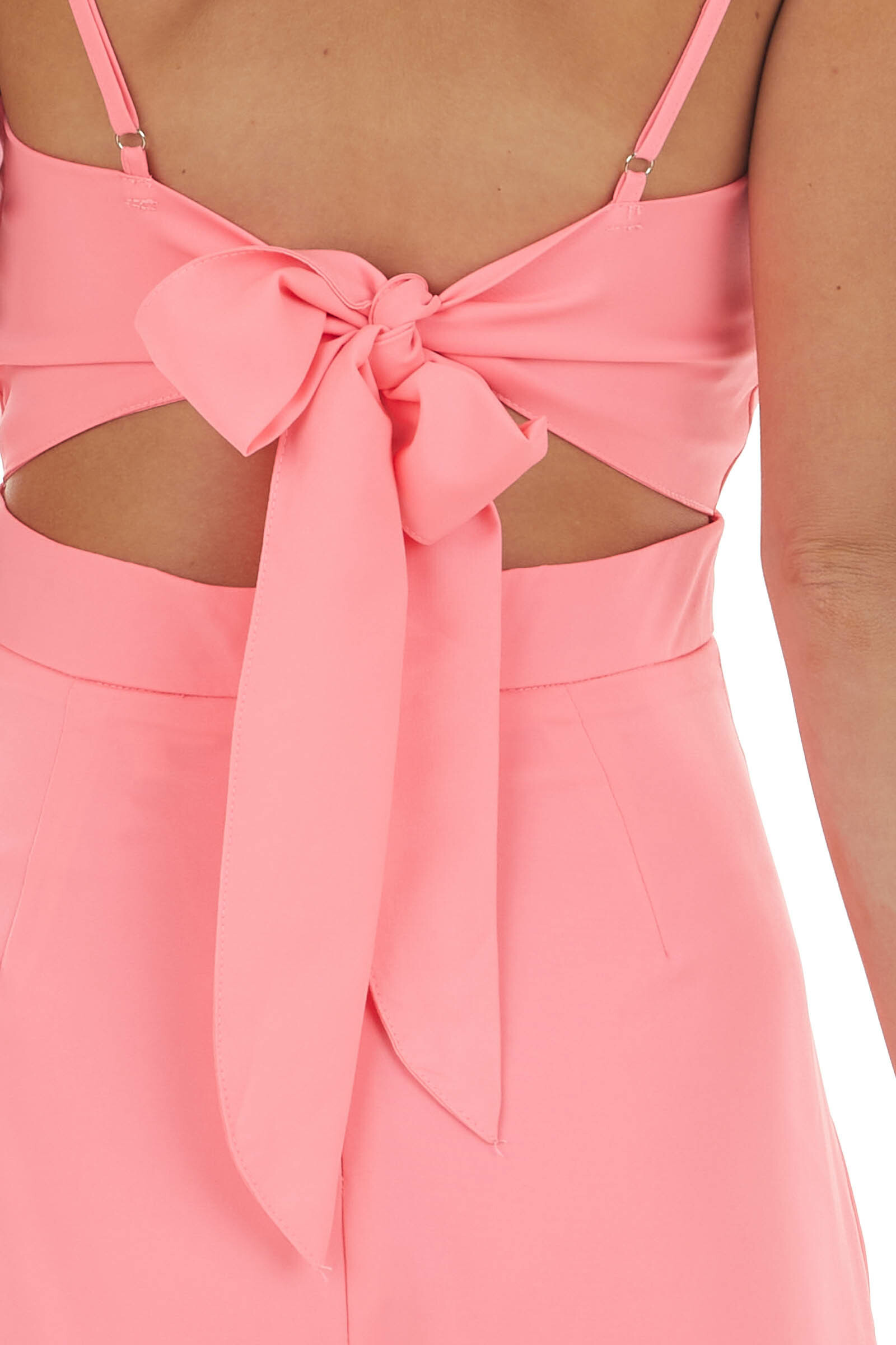 Neon Pink Sleeveless Cut Out Pleated Romper