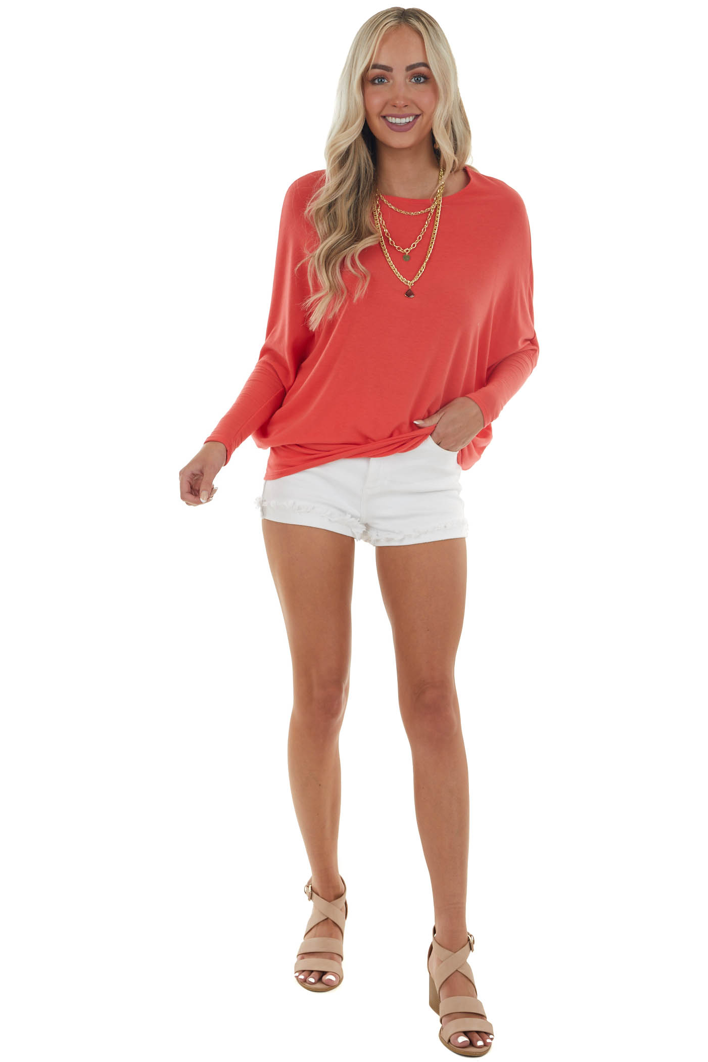 Scarlet Round Neck Top with Long Dolman Sleeves