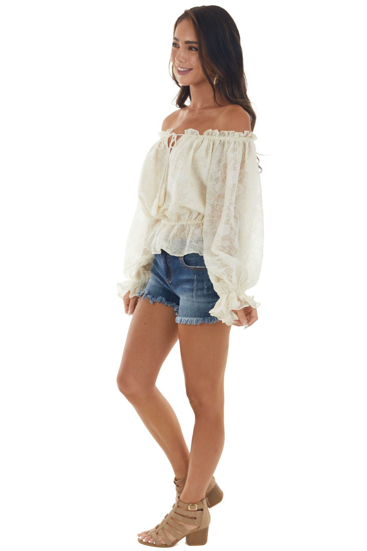 Cream Textured Off Shoulder Puff Sleeve Blouse