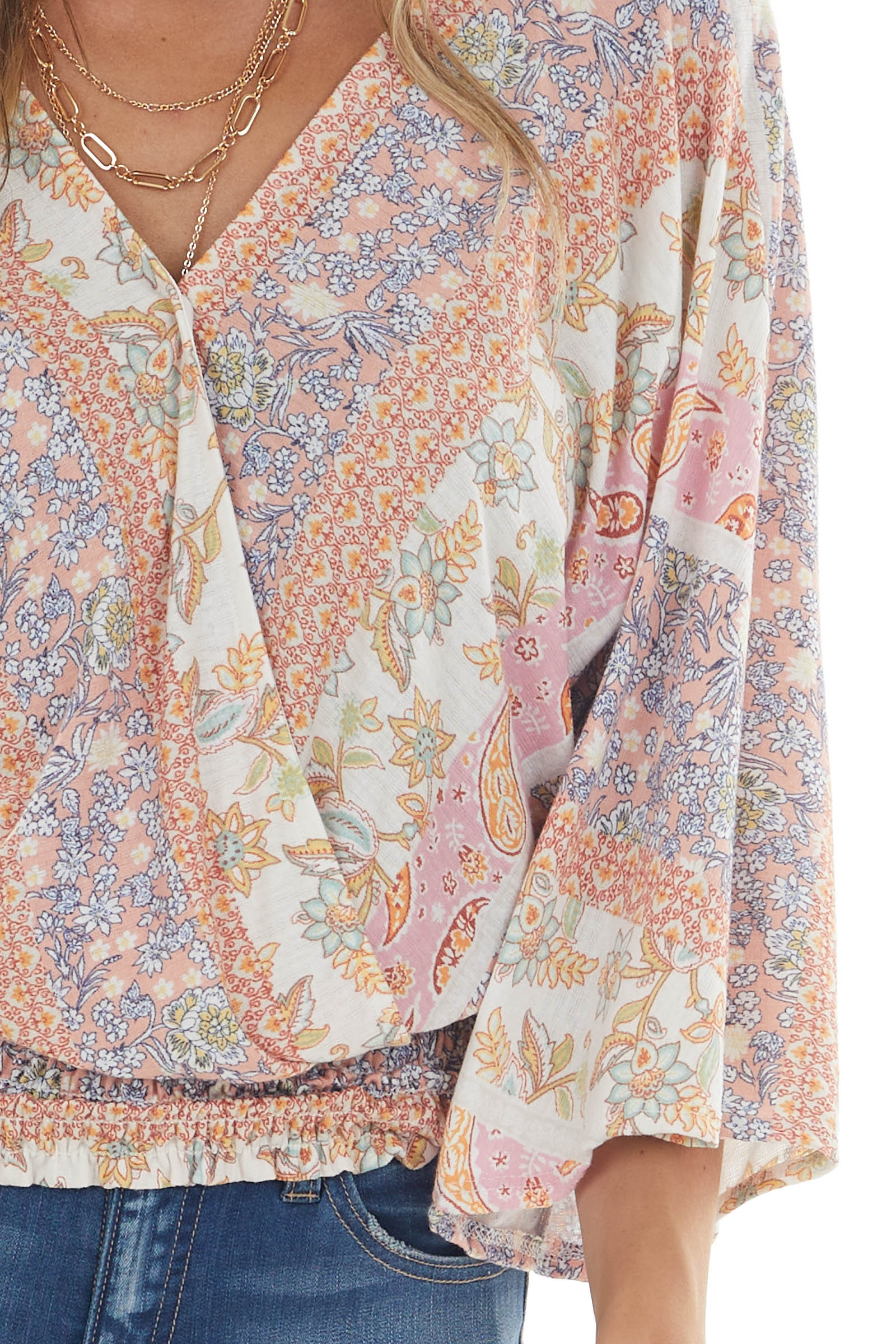 Apricot Printed Long Sleeve Surplice Knit Top