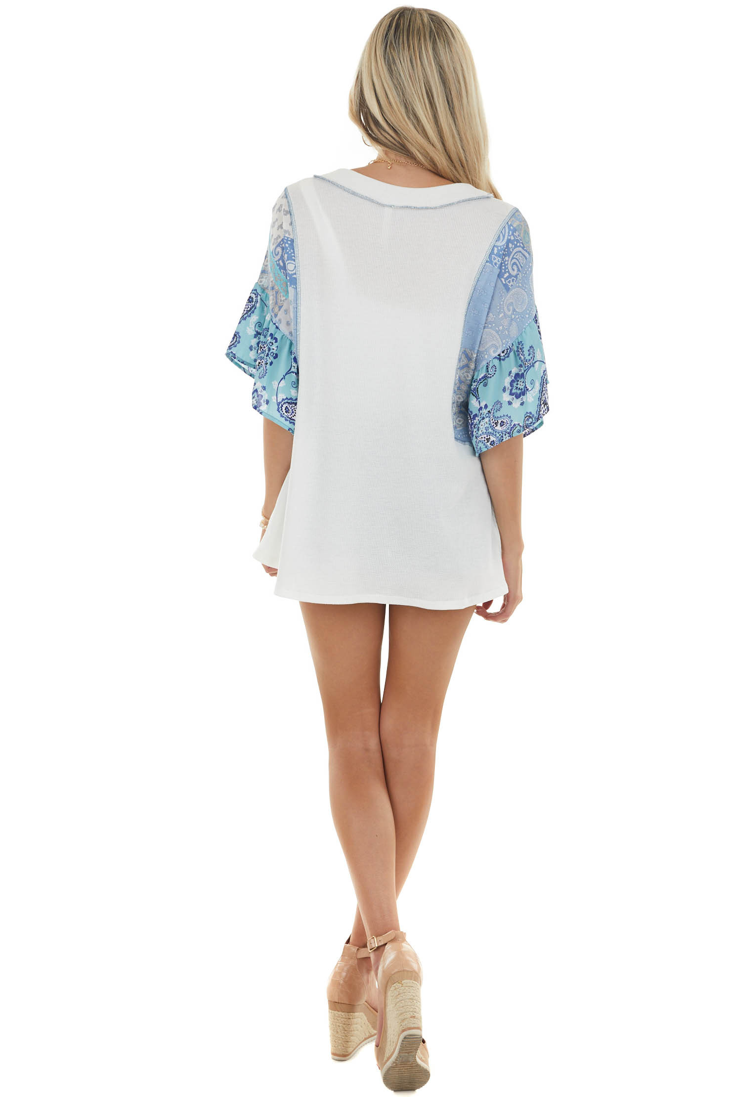 Off White Raglan Top with Multiprint Sleeves