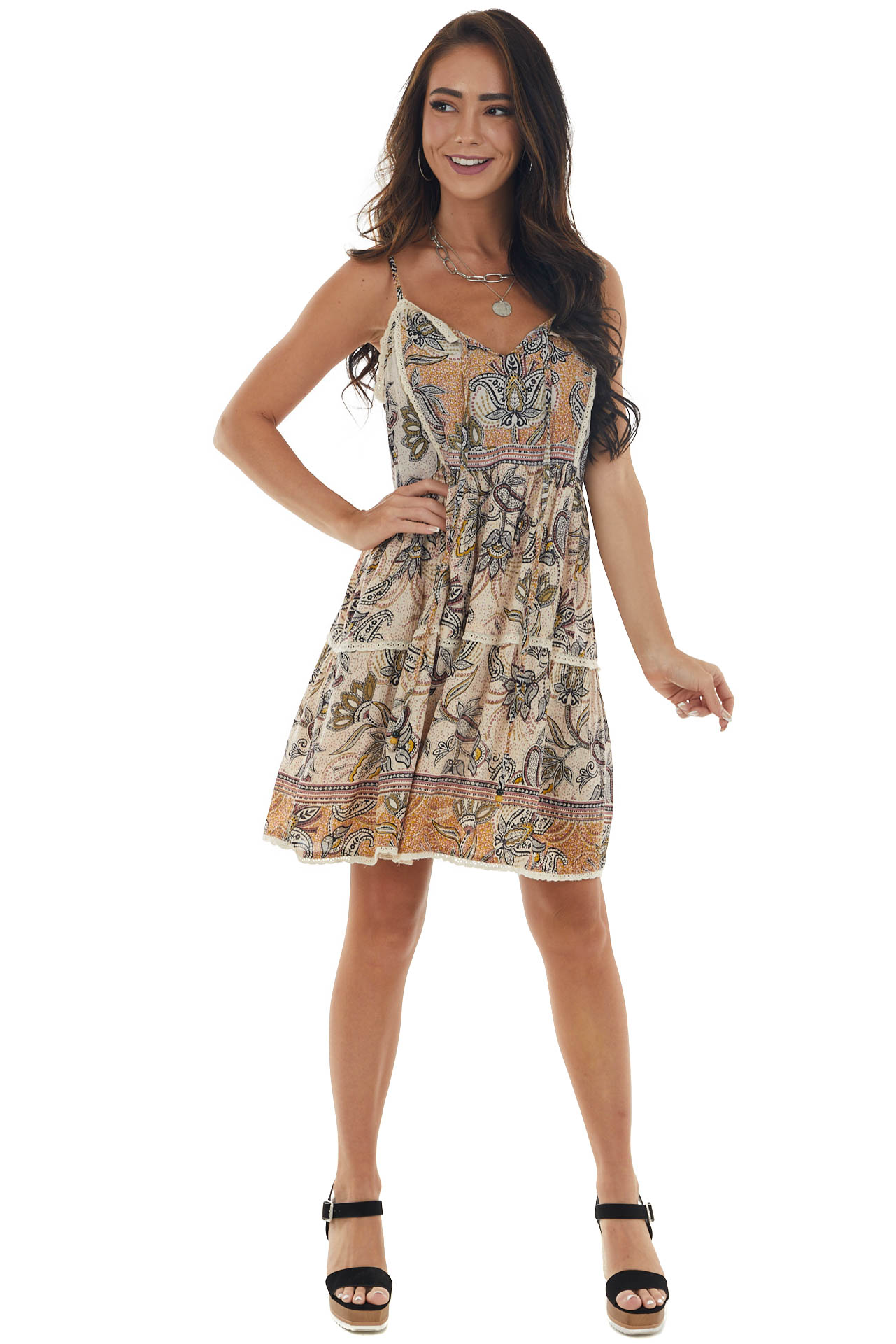 Desert Sand Printed Tiered Eyelet Lace Dress