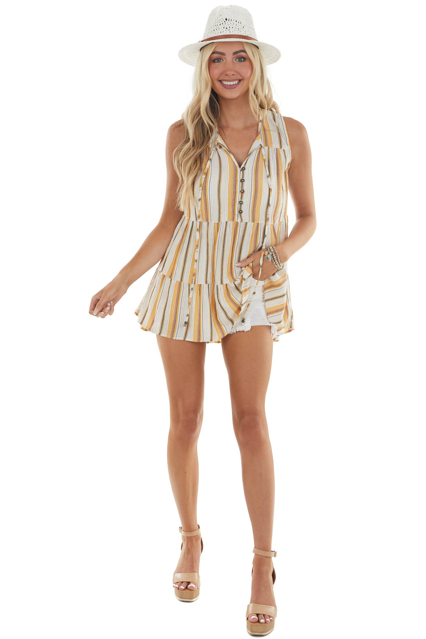 Amber Striped Print Tank Top with Buttons