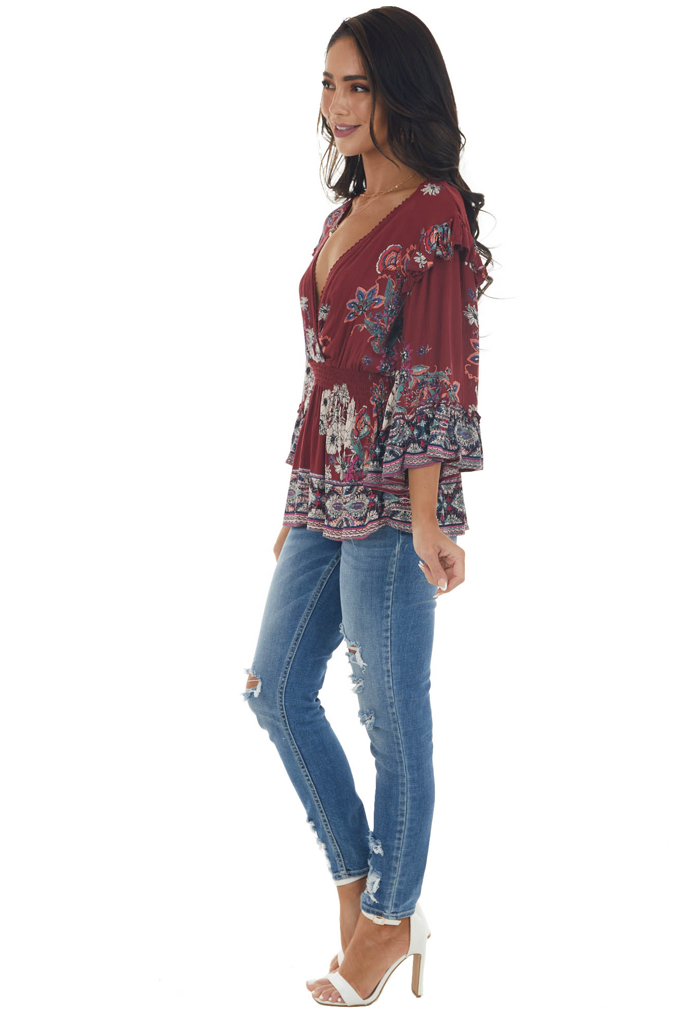 Rosewood Floral Print Long Sleeve Blouse