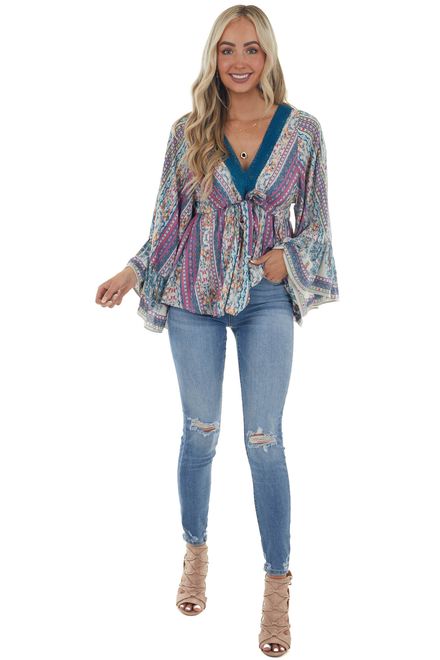 Catalina Blue Printed Drop Waist Top with Tie