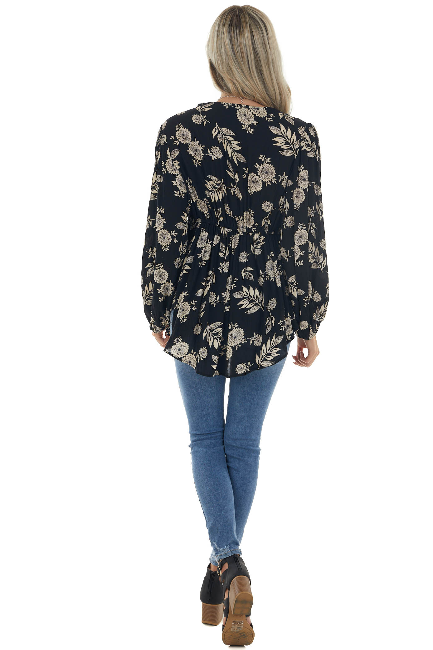 Black and Sand Floral Print Long Sleeve Top
