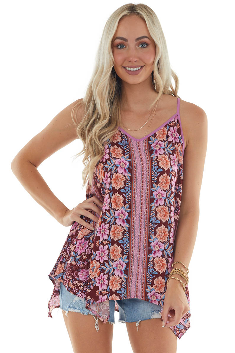 Rosewood Floral Print Tank with Ladder Back
