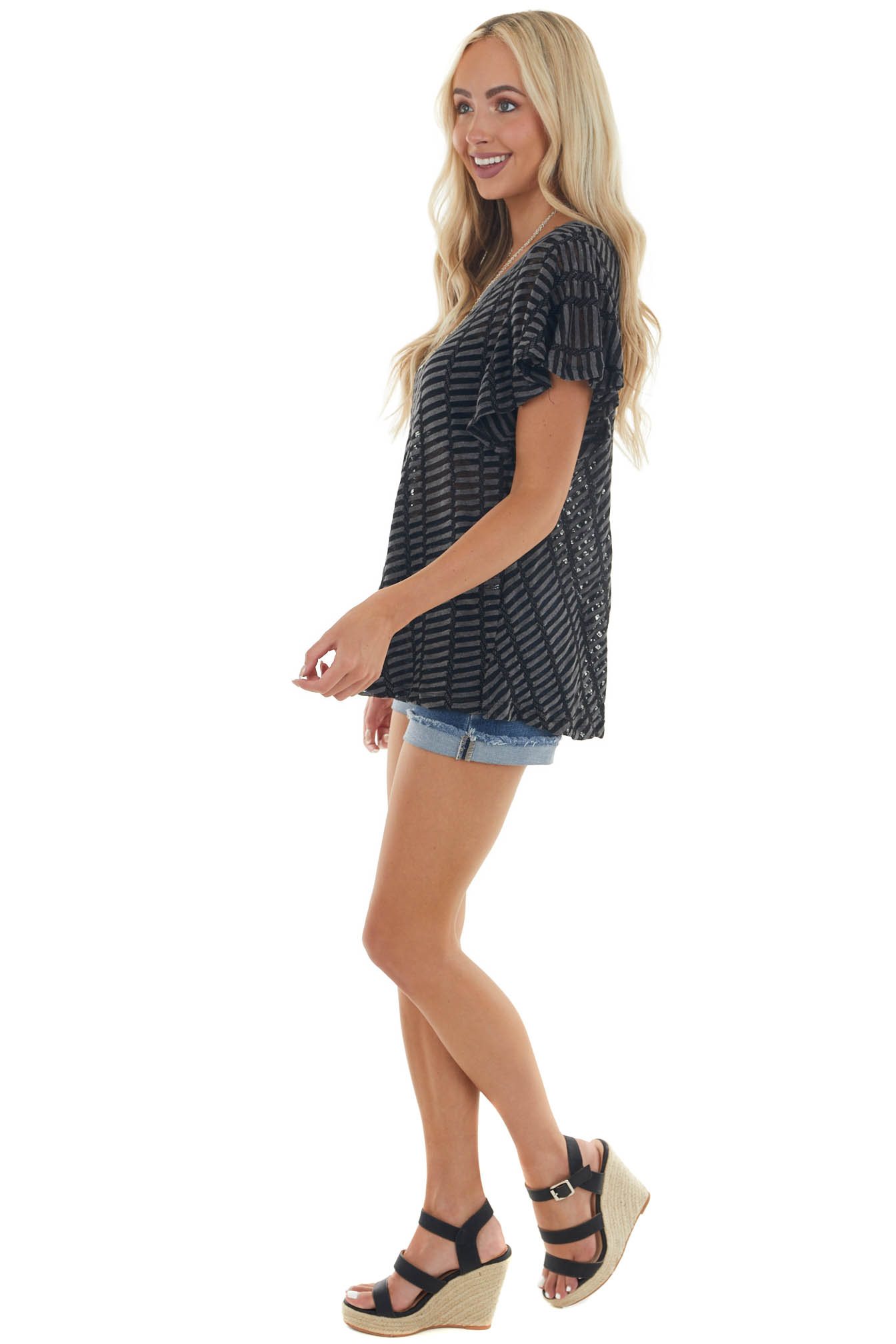 Graphite Grey Striped Textured Sheer Knit Top