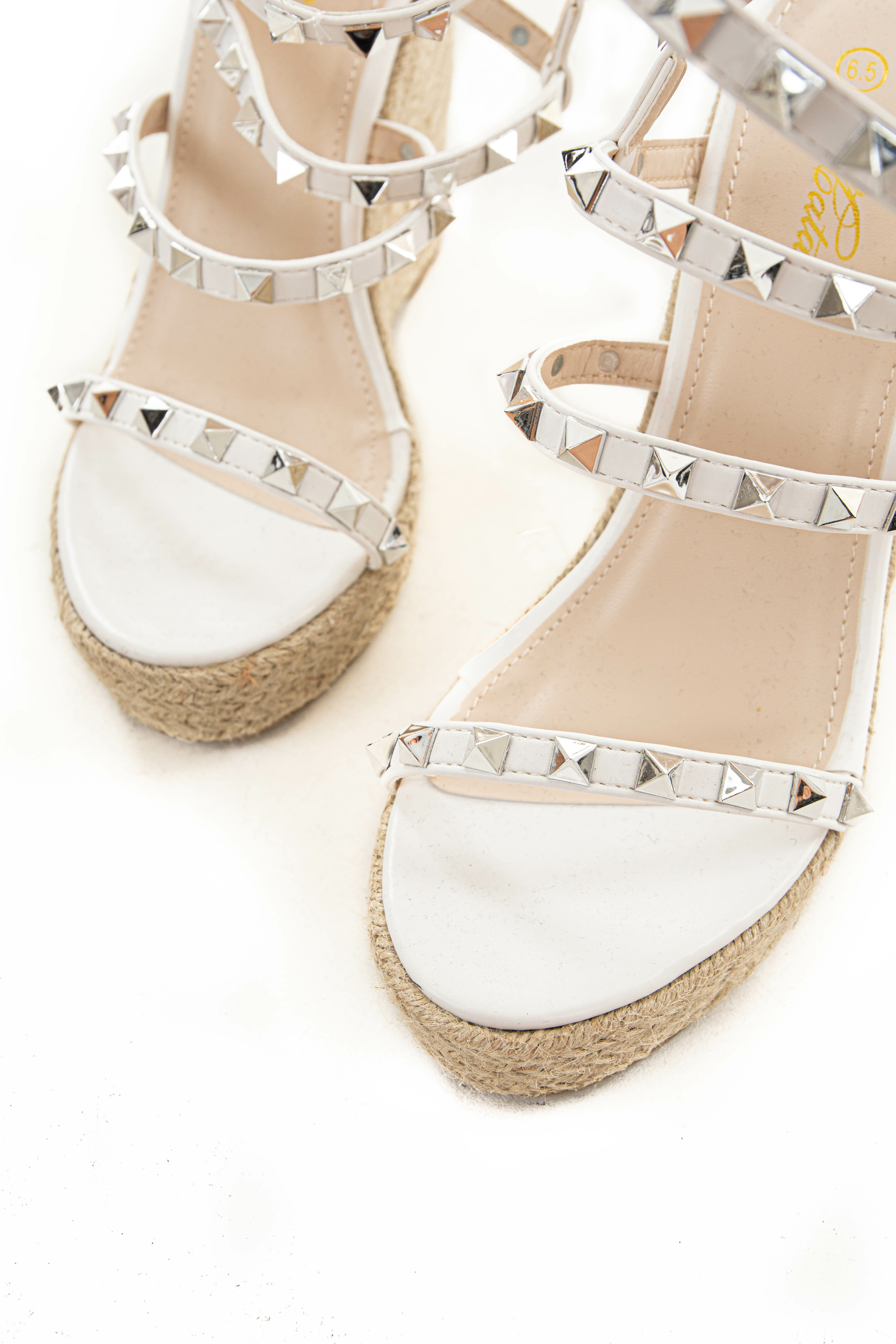 Pearl Faux Leather Studded Espadrille Wedges