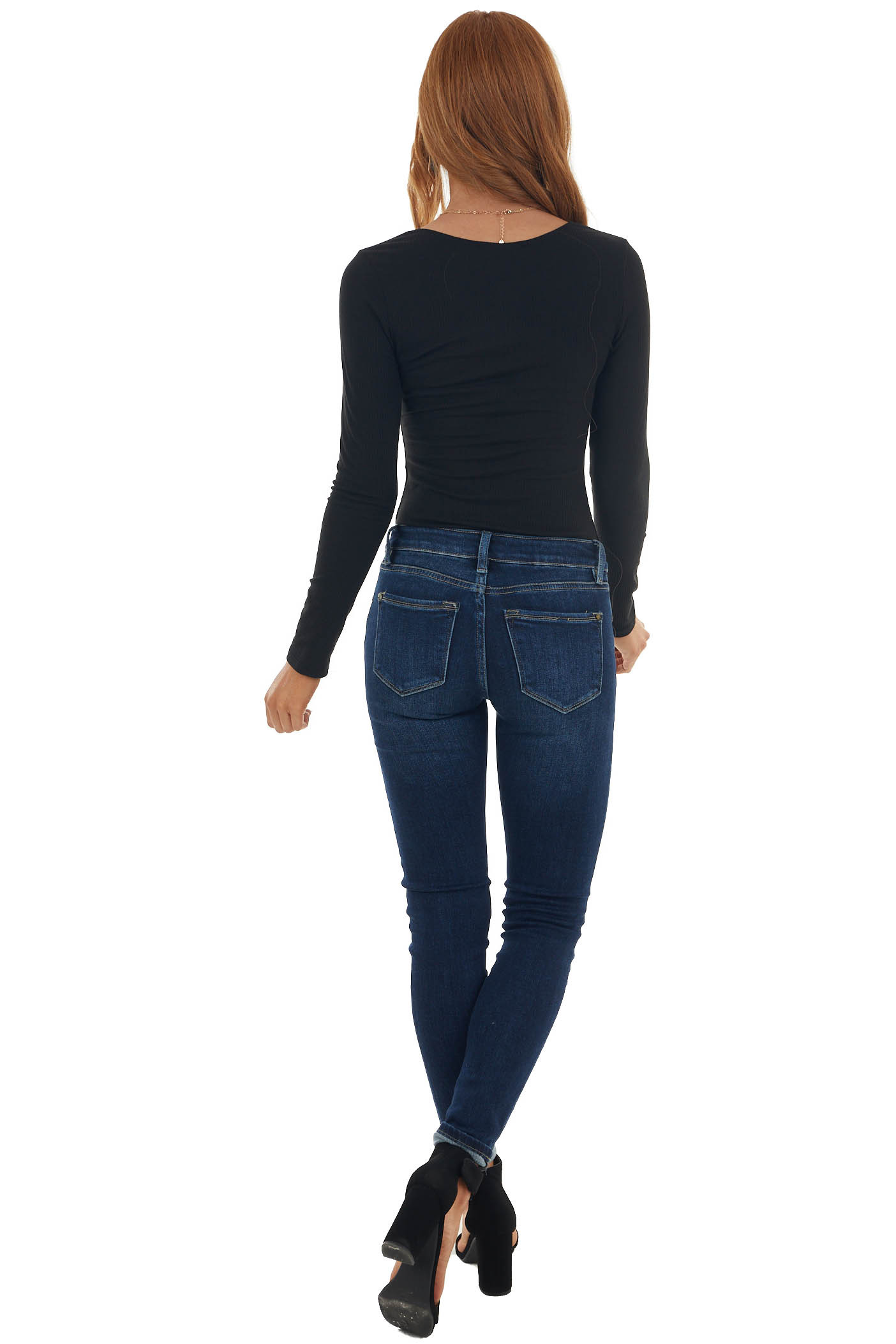 Black Ribbed Knit Bodysuit with Button Detail