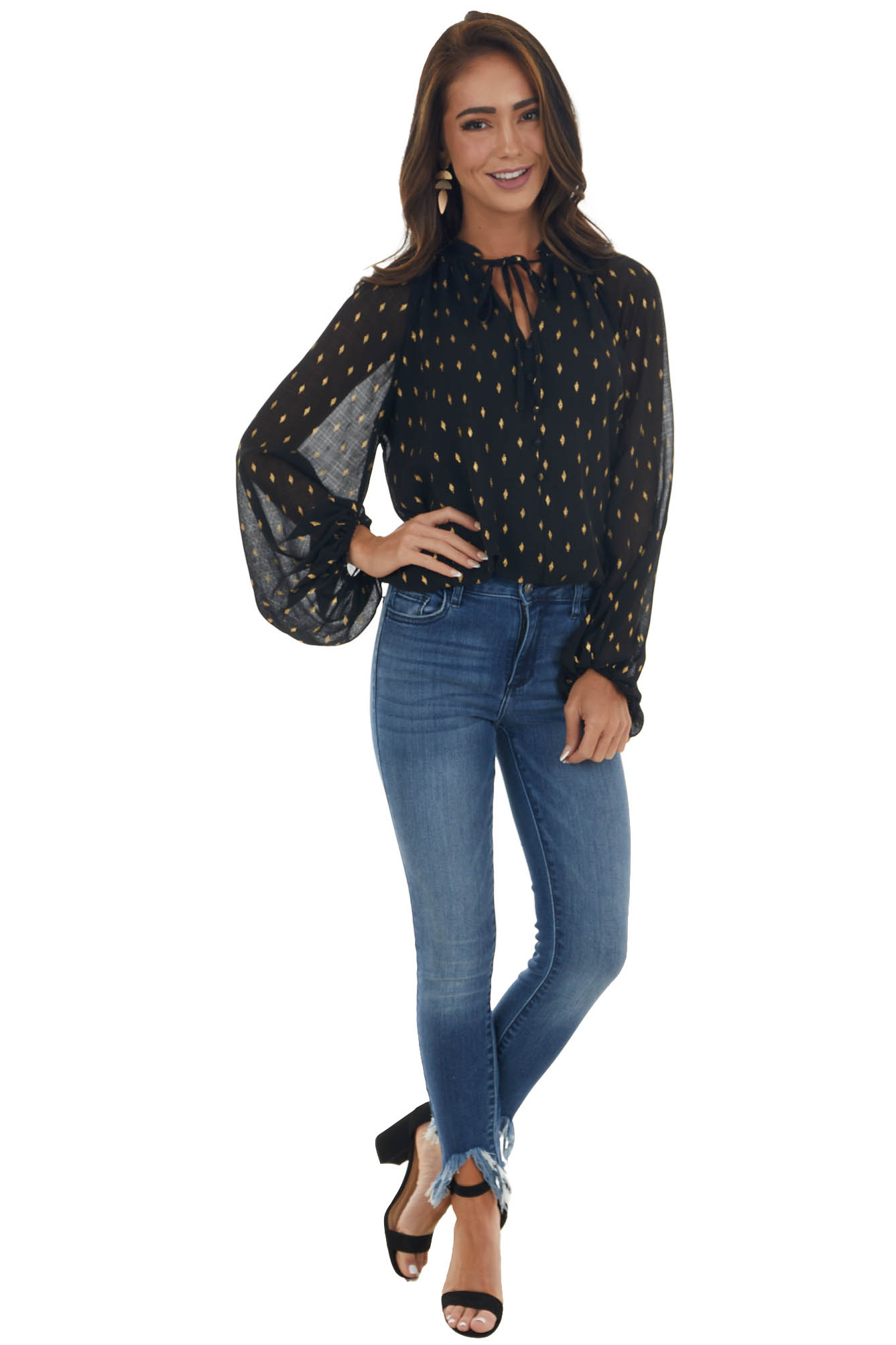 Black and Gold Long Sleeve Mock Neck Blouse