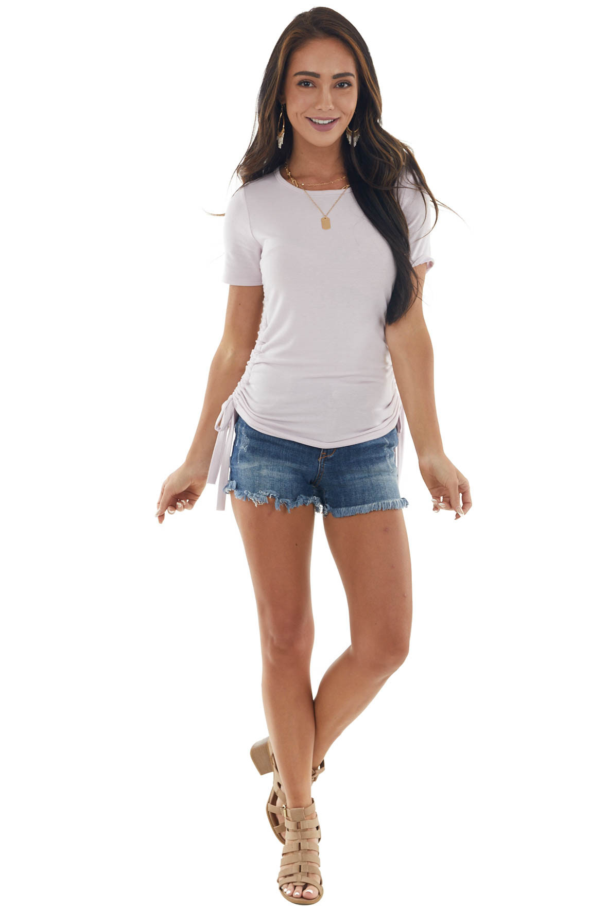 Light Lilac Ruched Side Short Sleeve Knit Top
