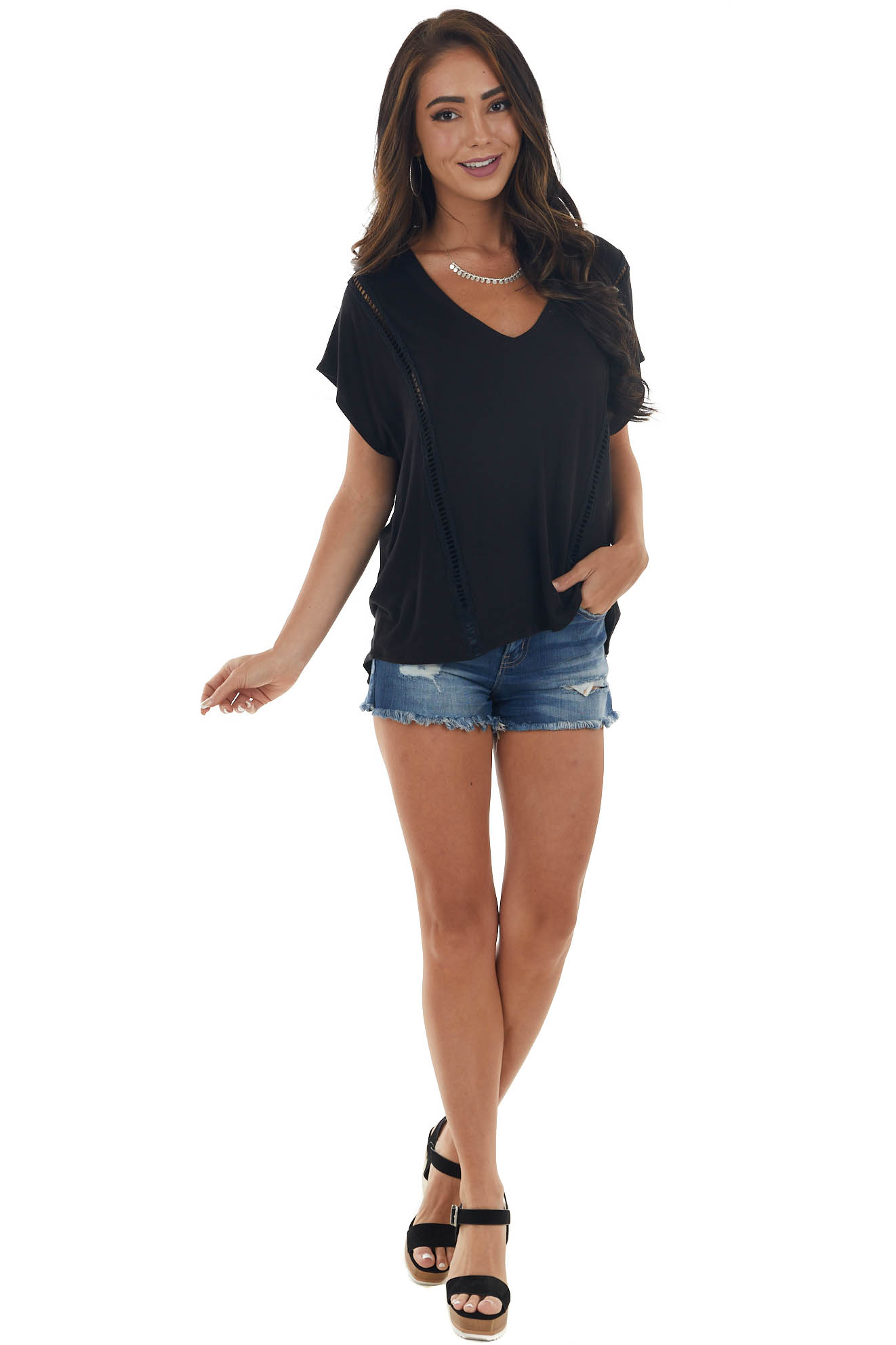 Black Soft Knit Top with Peekaboo Lace Trim
