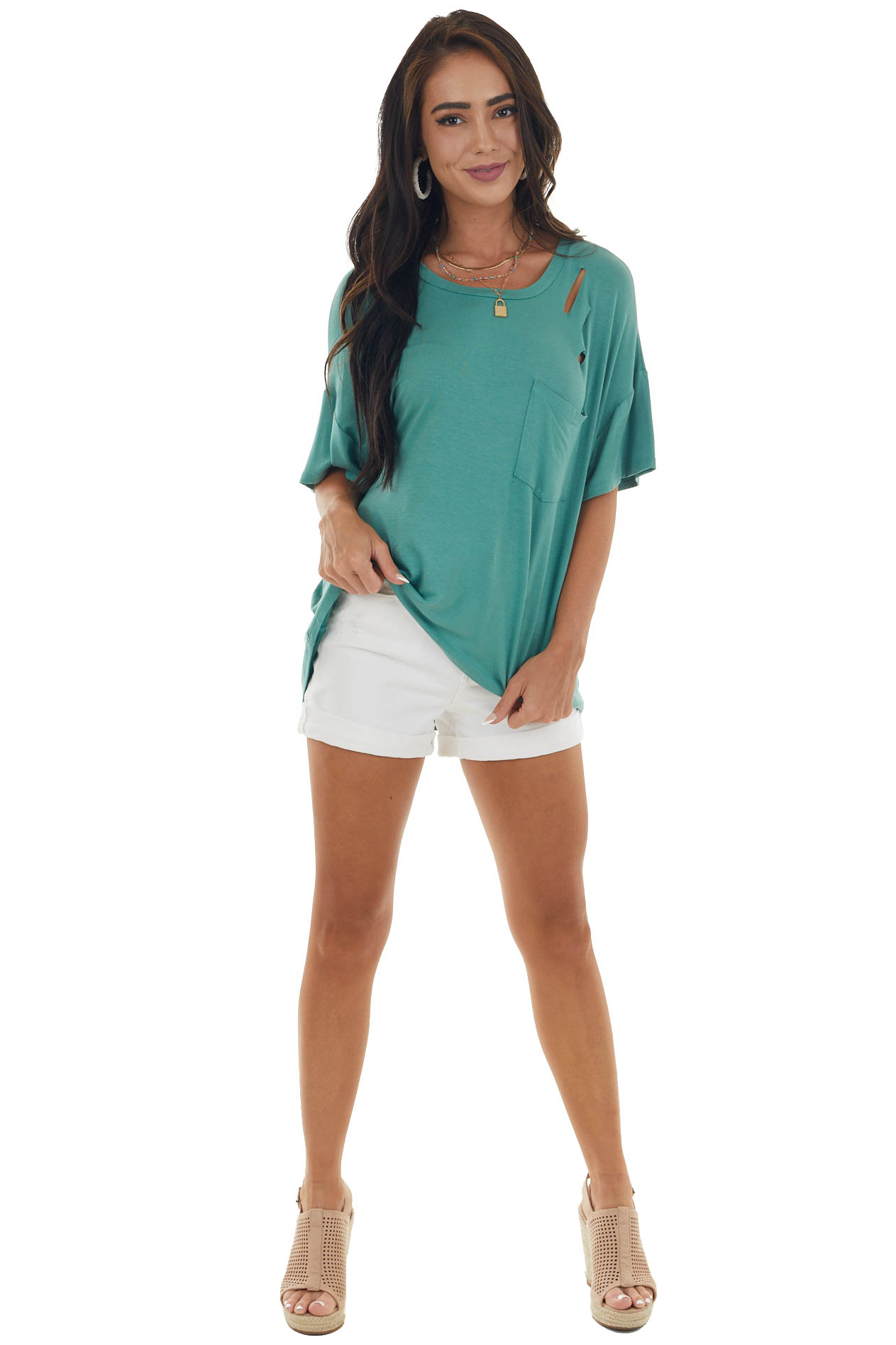 Faded Jade Cut Out Soft Knit Tee with Pocket