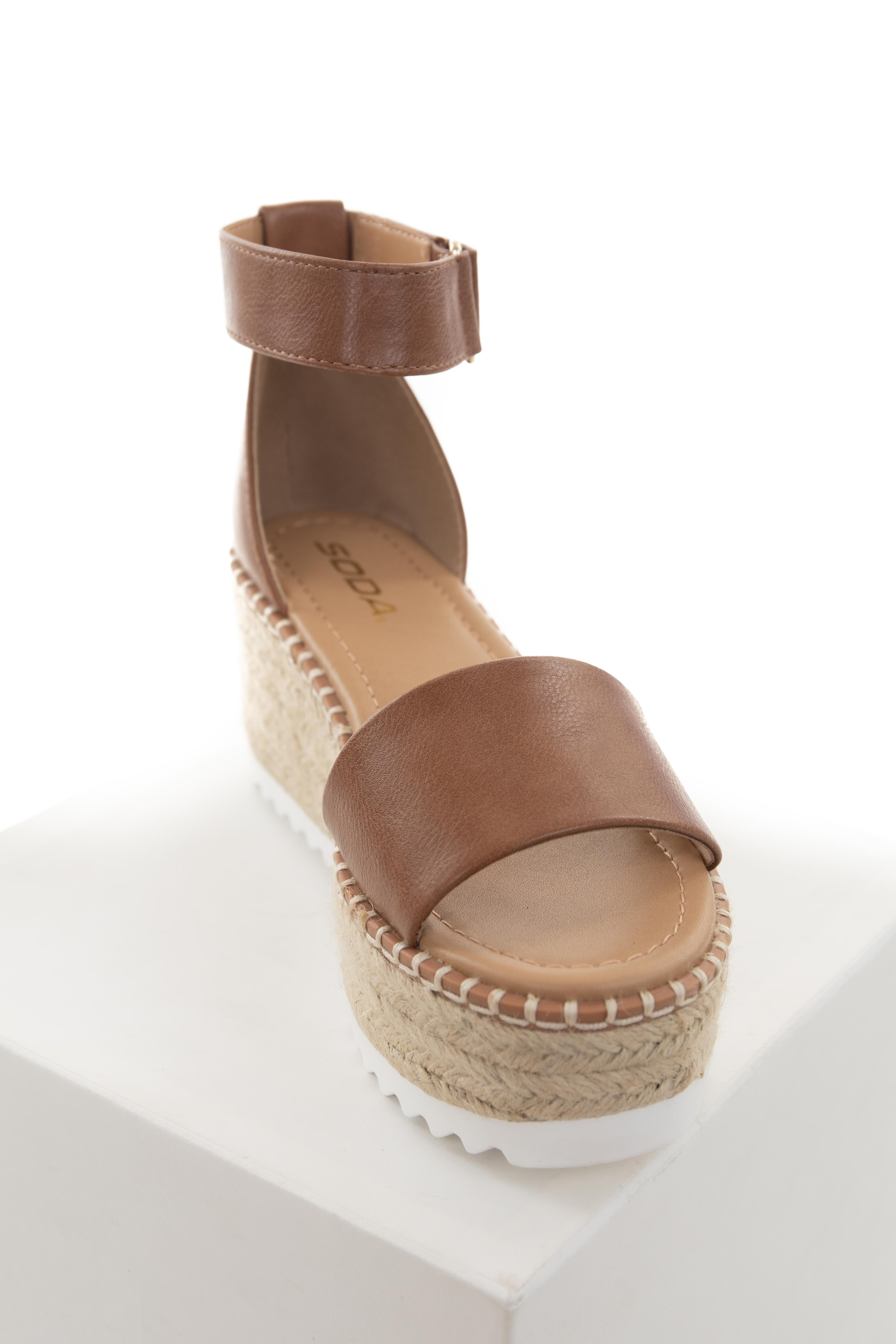 Sepia Faux Leather Espadrille Wedges