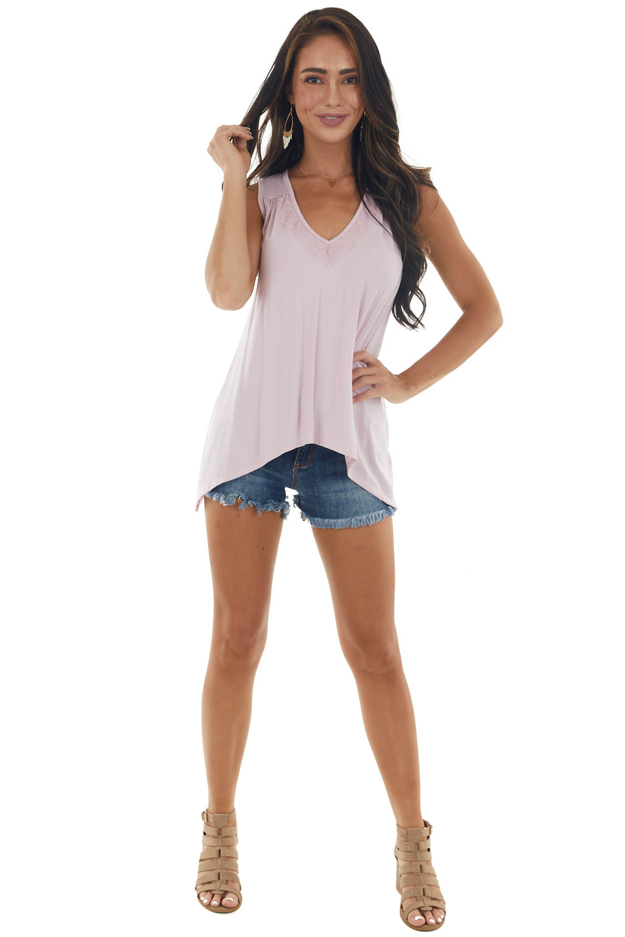 Cherry Blossom V Neck Tank with Lace Detail