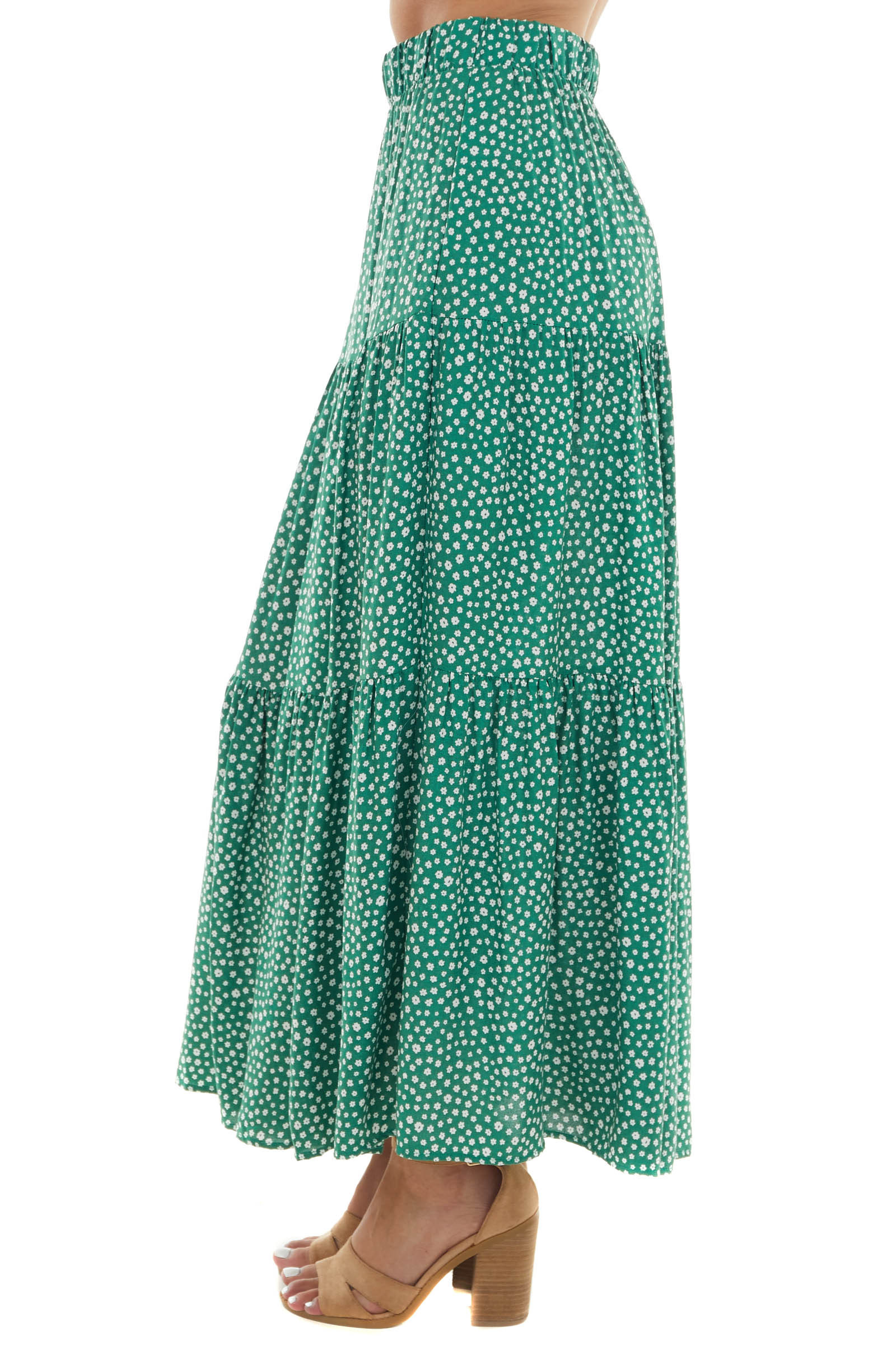 Jade Green Ditsy Floral Tiered Maxi Skirt