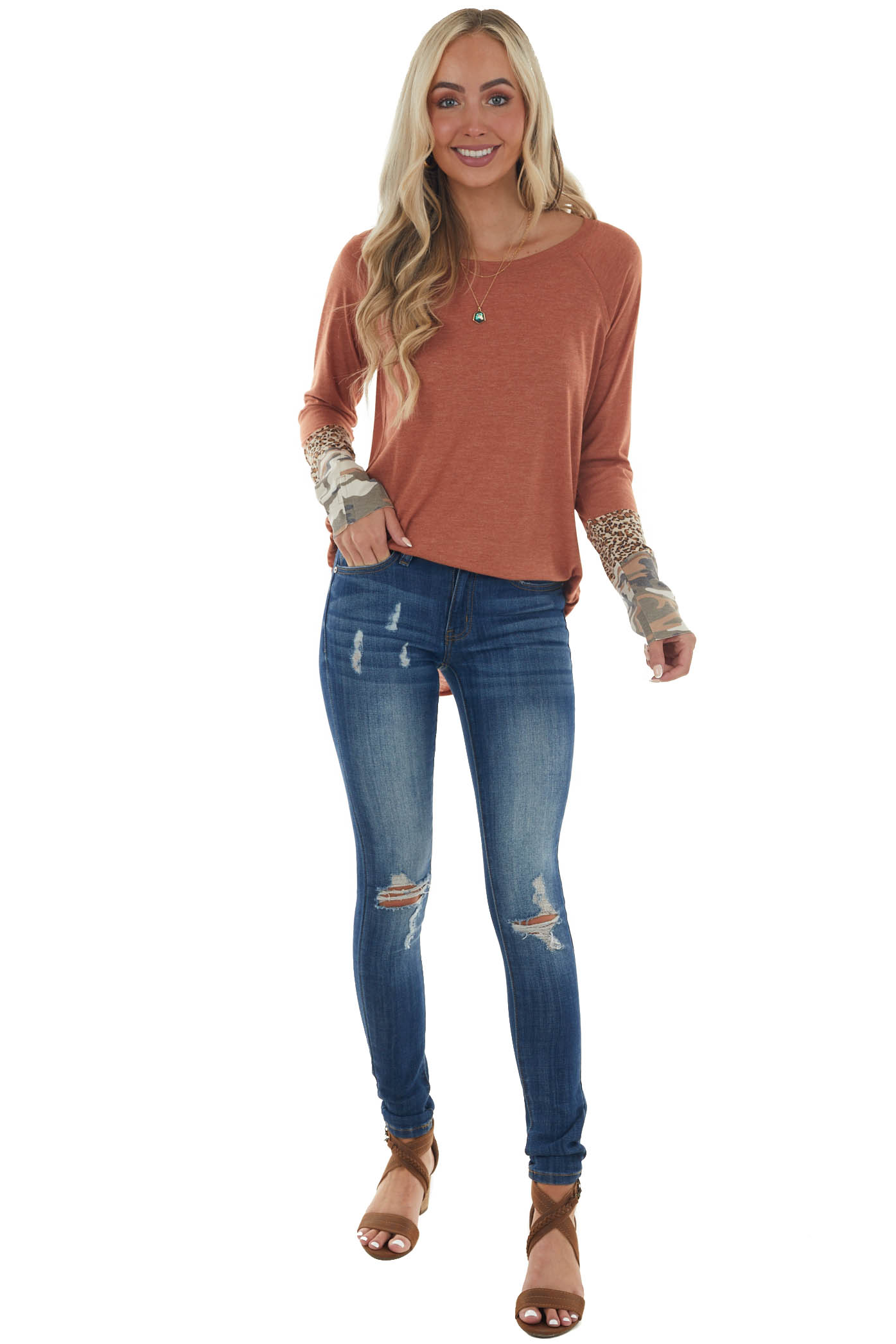 Heathered Ginger Multiprint Cuff Knit Top