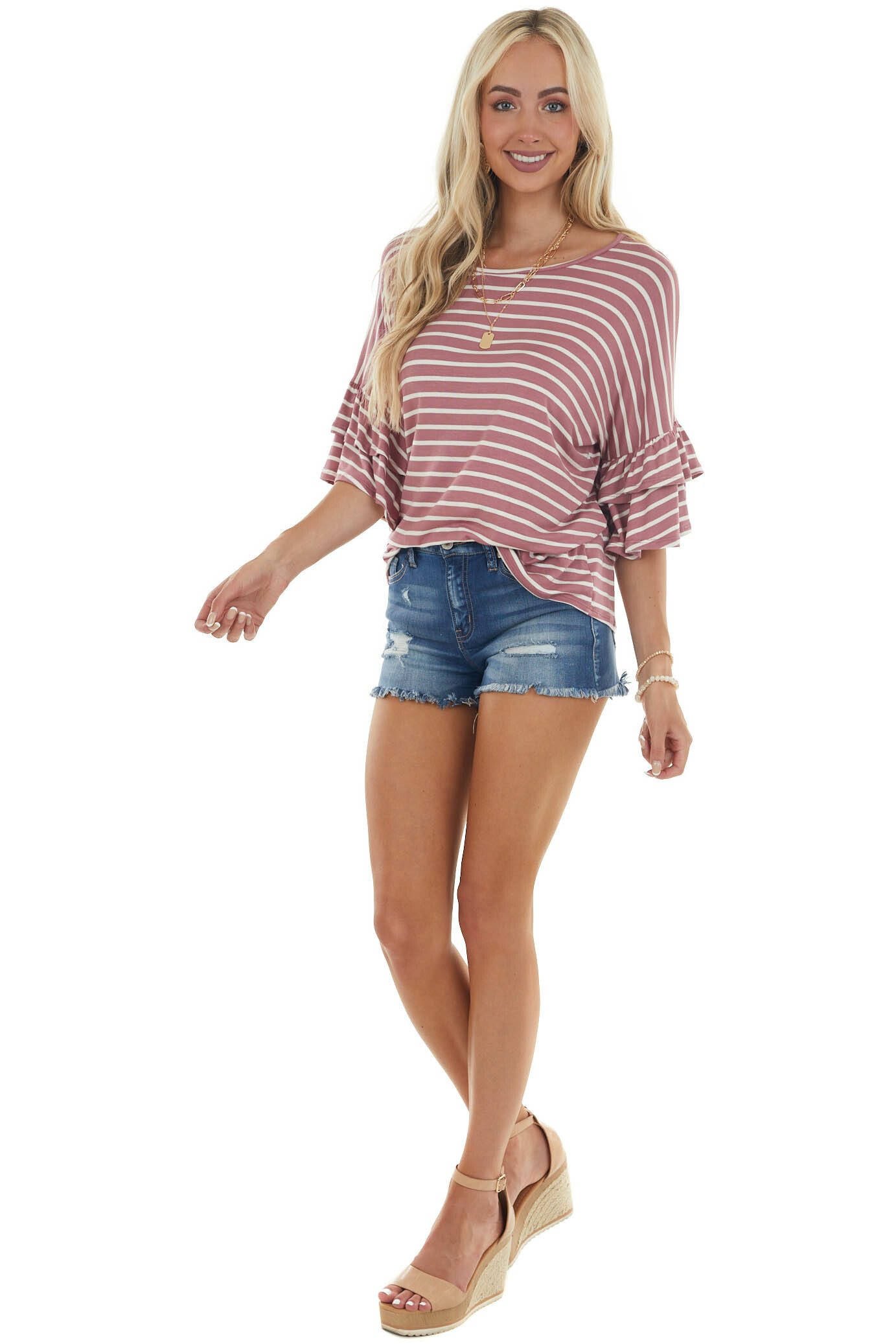 Berry Striped Tiered Ruffled Sleeve Knit Top