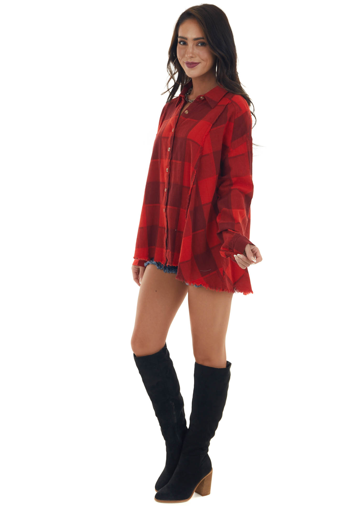 Candy Apple Red Plaid Button Up Frayed Top