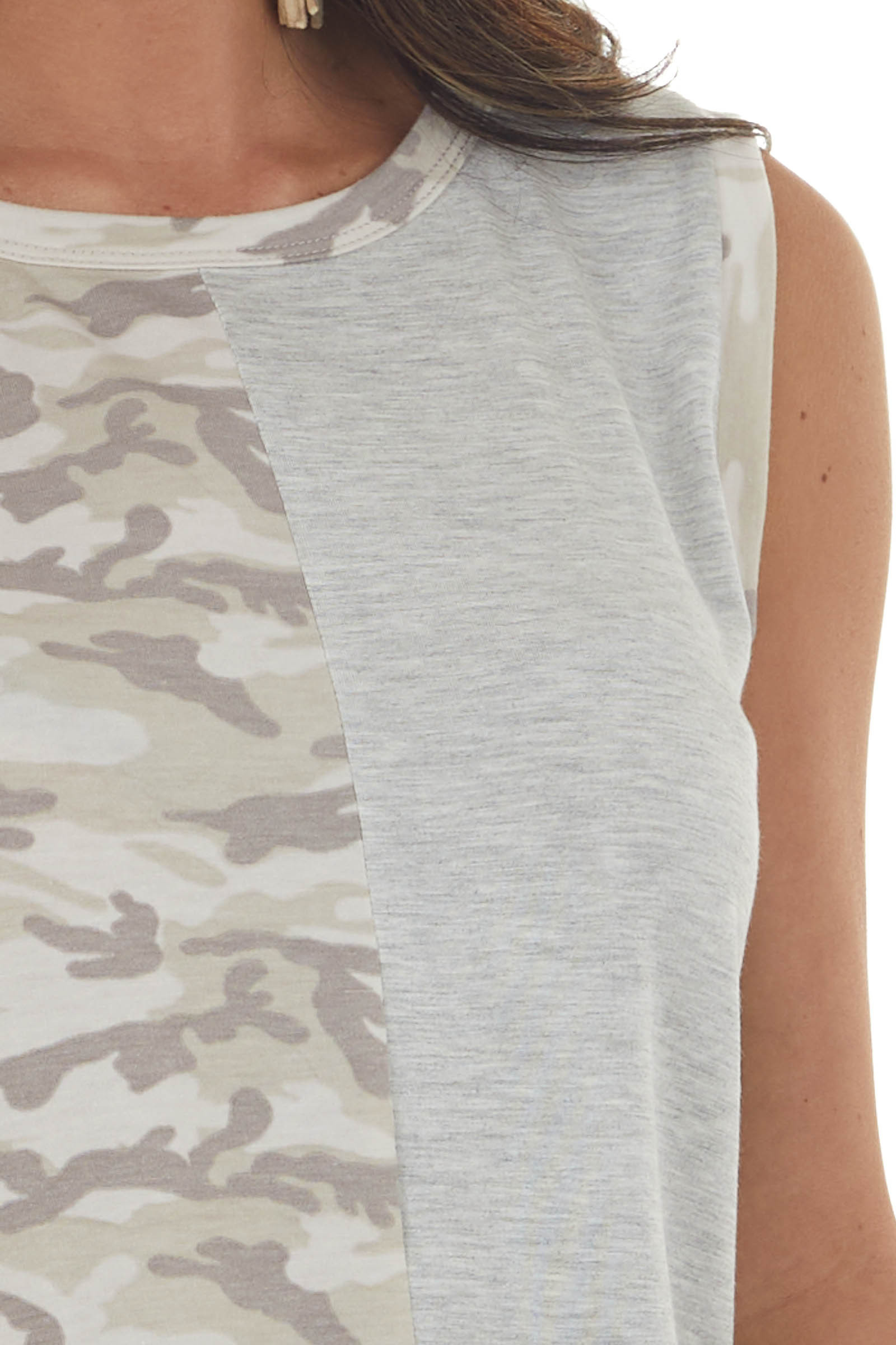 Heather Grey Muscle Tank with Camo Contrast