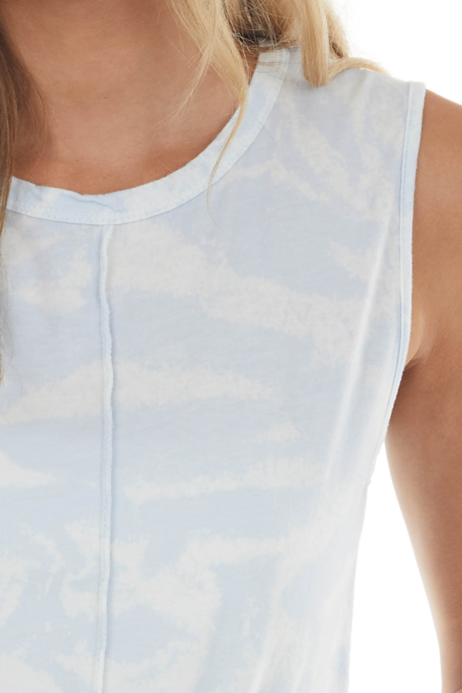 Light Powder Blue Mineral Washed Muscle Tank