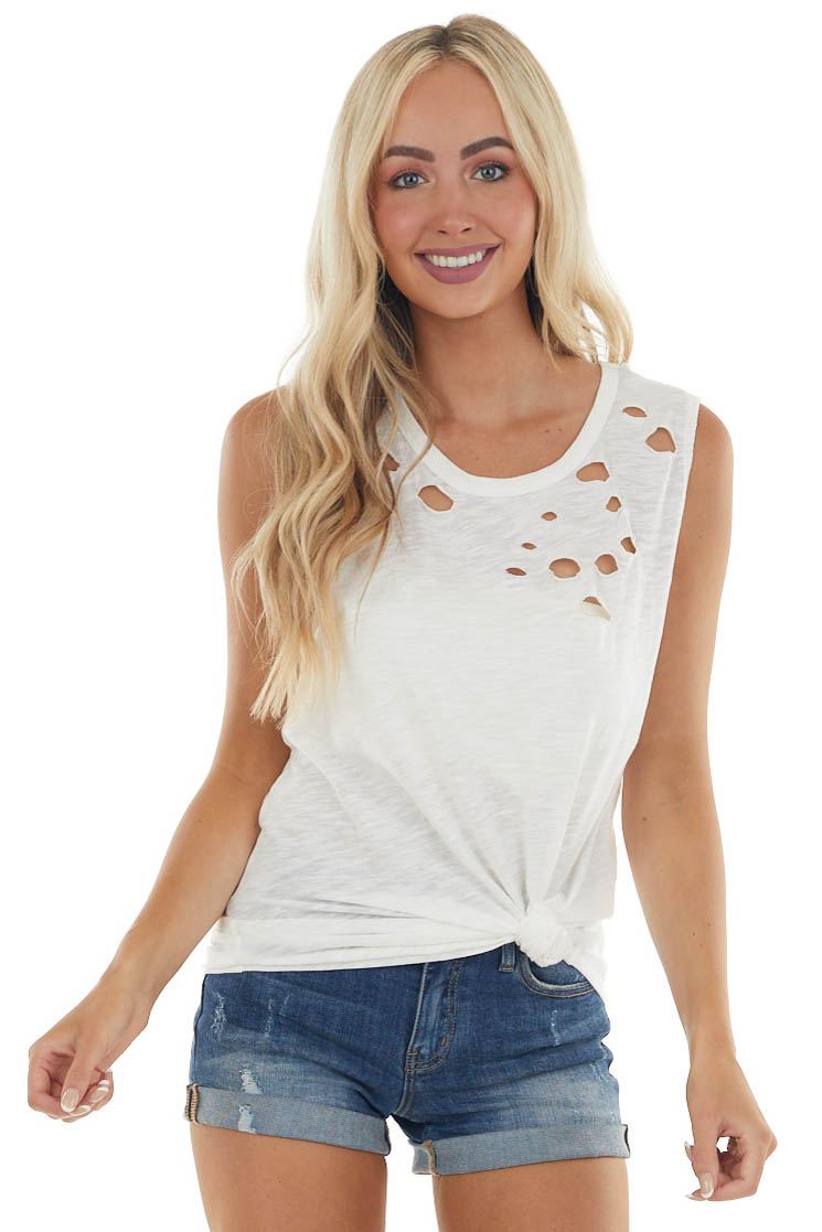 Ivory Tank Top with Distressed Details
