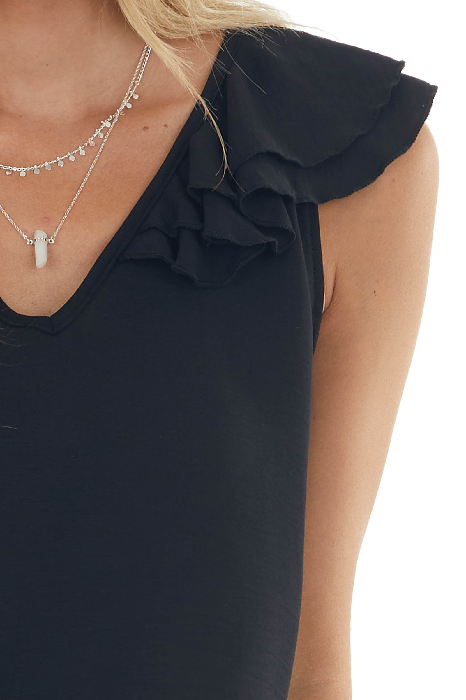 Black Short Sleeve Blouse with Ruffle Detail