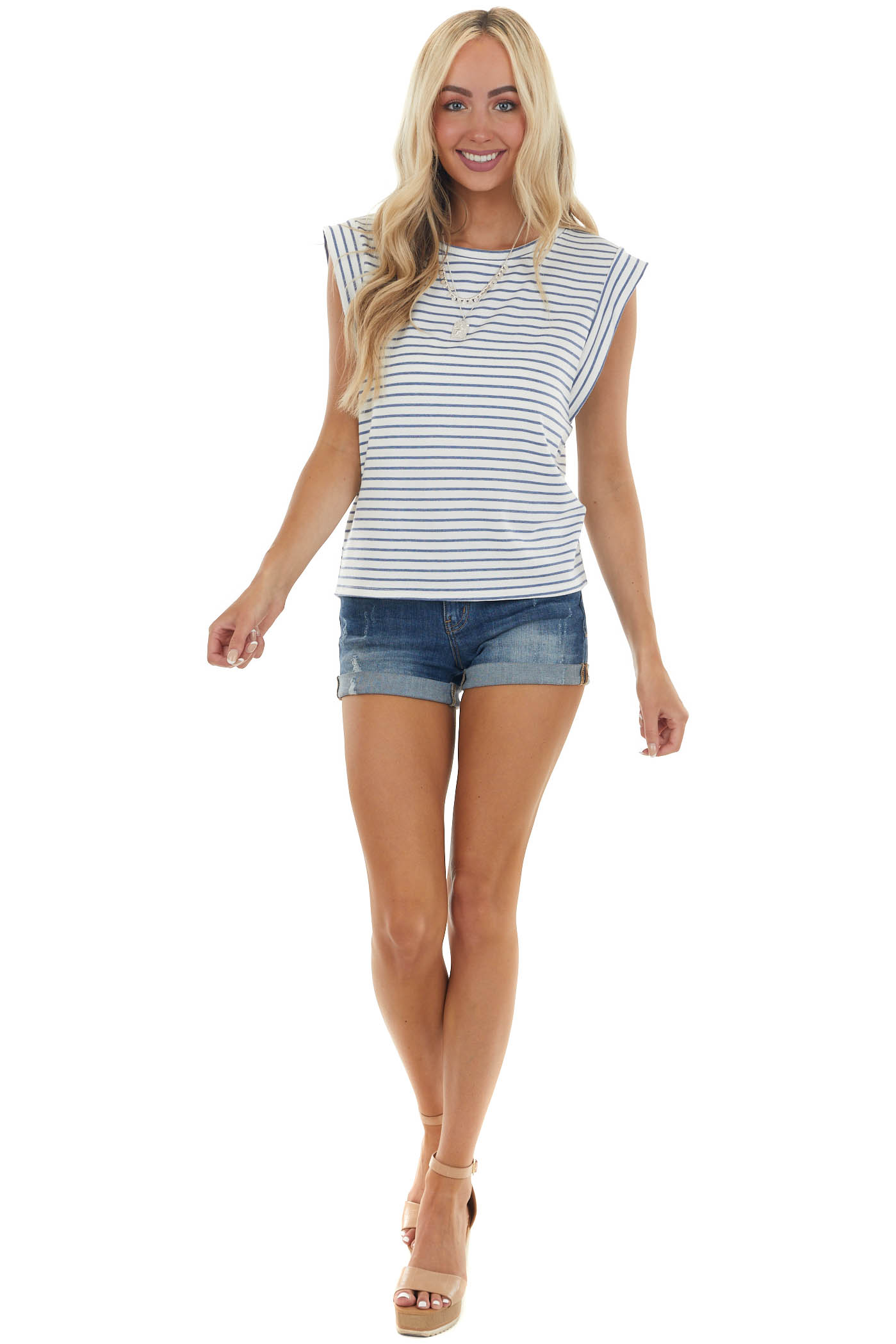 Ivory and Denim Blue Striped Cap Sleeve Top